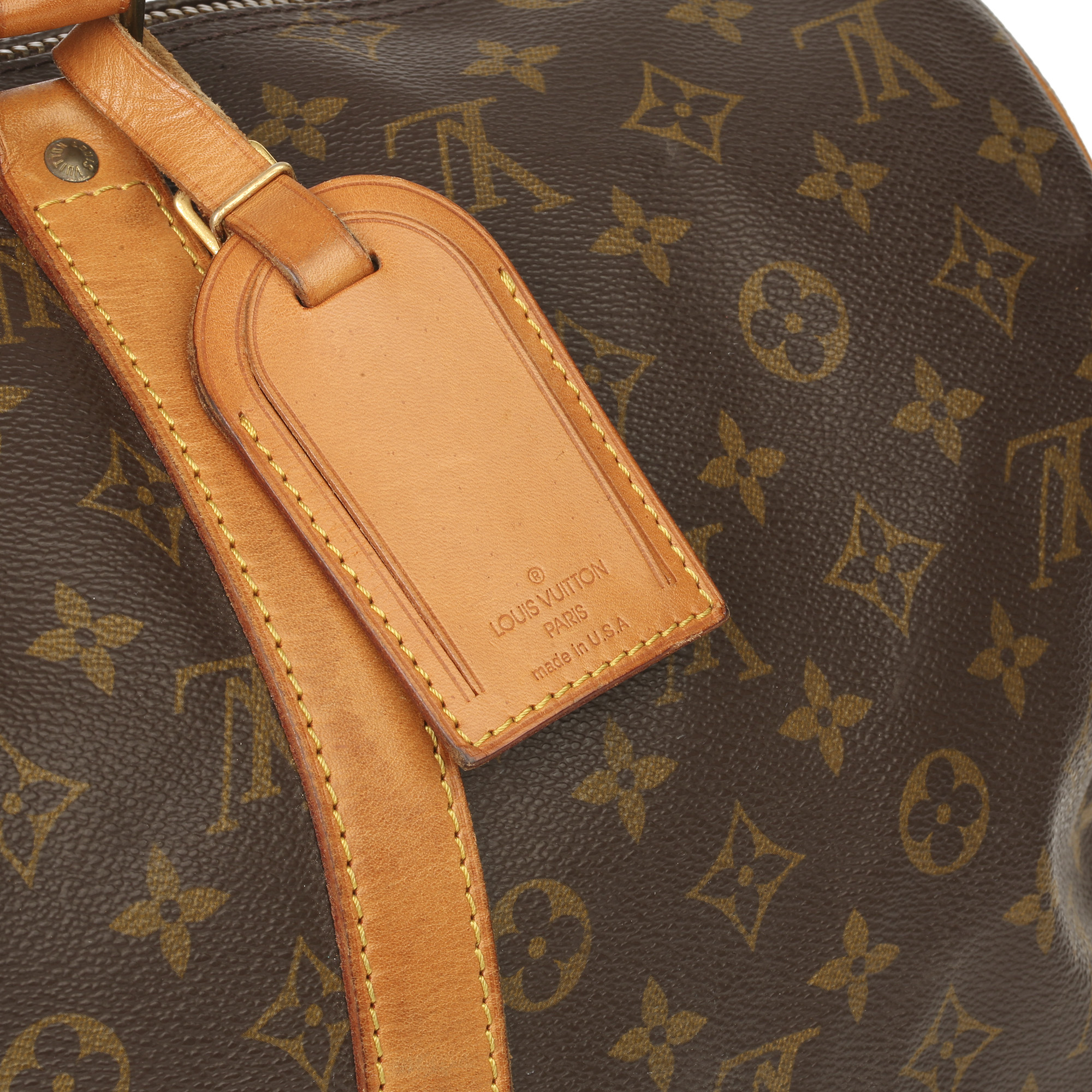 Louis Vuitton Brown Monogram Coated Canvas & Vachetta Leather Vintage Keepall 45 Bandoulire - Image 9 of 13