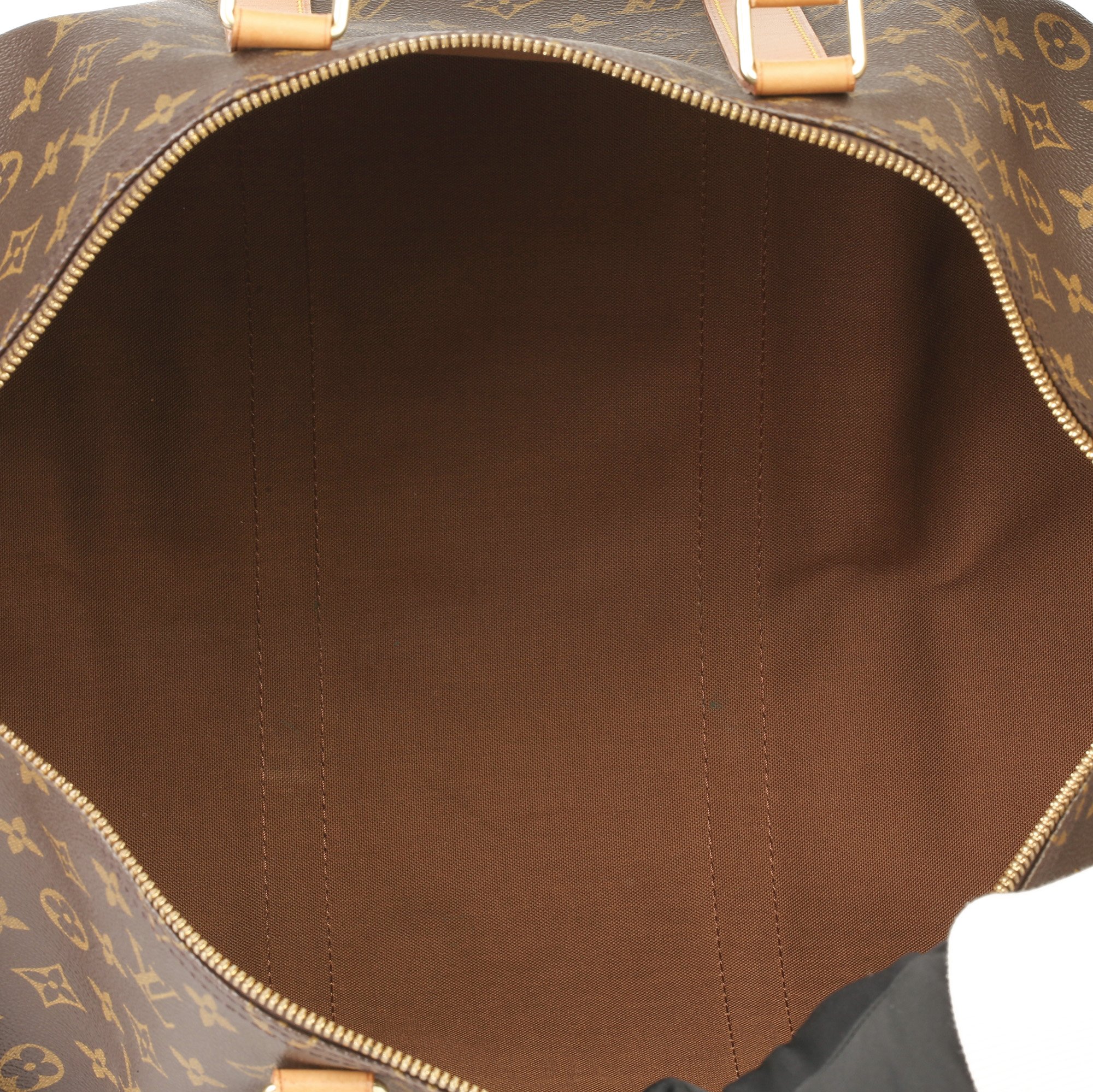 Louis Vuitton Brown Monogram Coated Canvas & Vachetta Leather Vintage Keepall 50 - Image 3 of 11