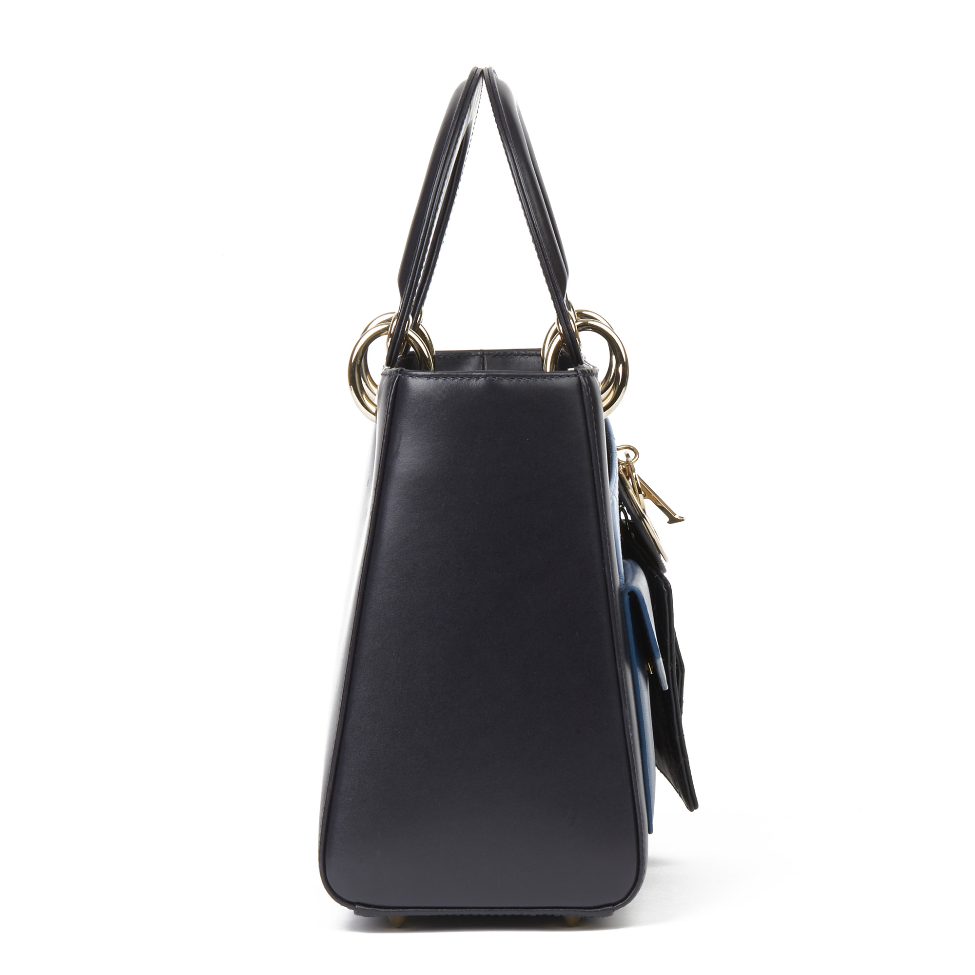 Christian Dior Navy Smooth Calfskin Leather Pocket Detail Medium Lady Dior - Image 10 of 10