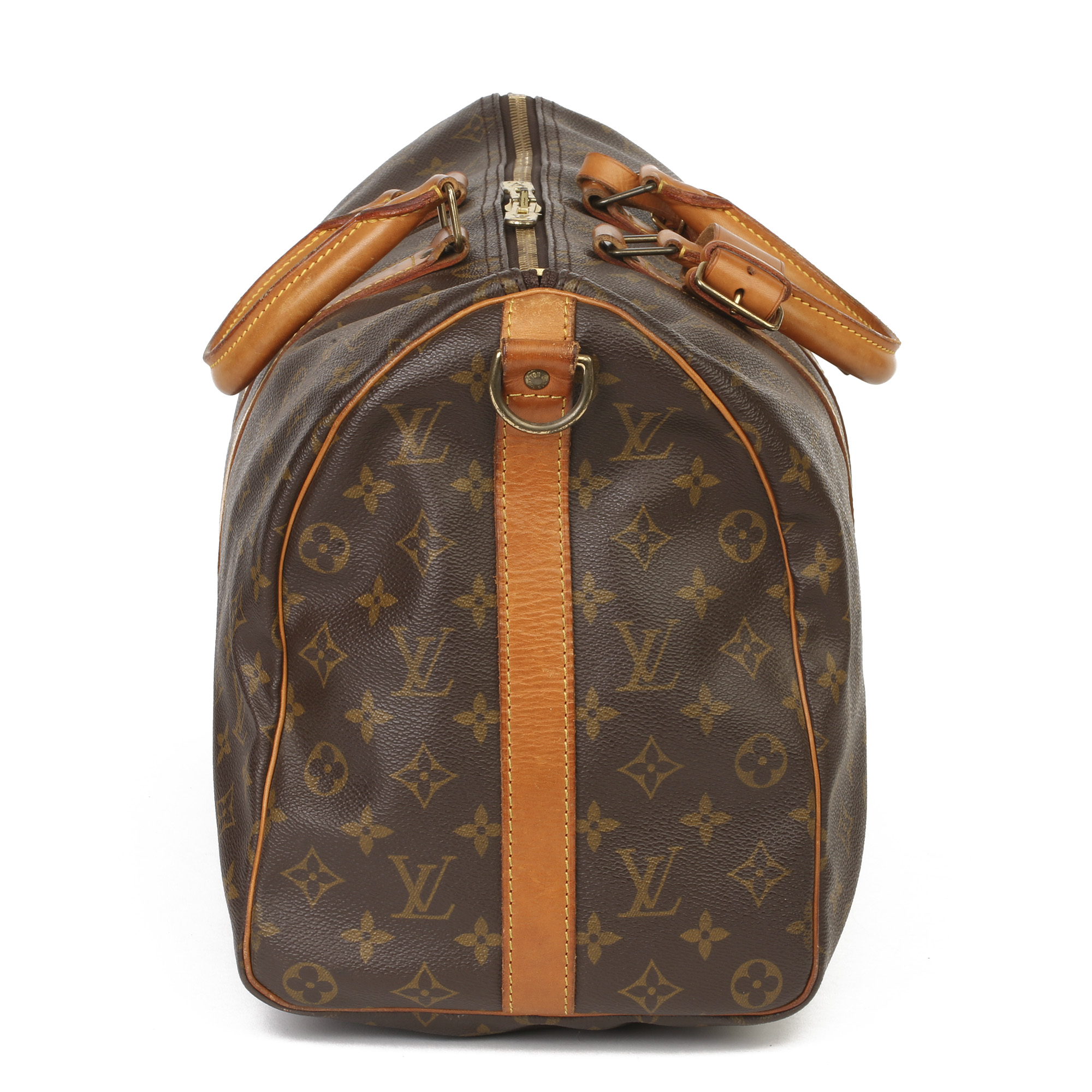 Louis Vuitton Brown Monogram Coated Canvas & Vachetta Leather Vintage Keepall 45 Bandoulire - Image 13 of 13