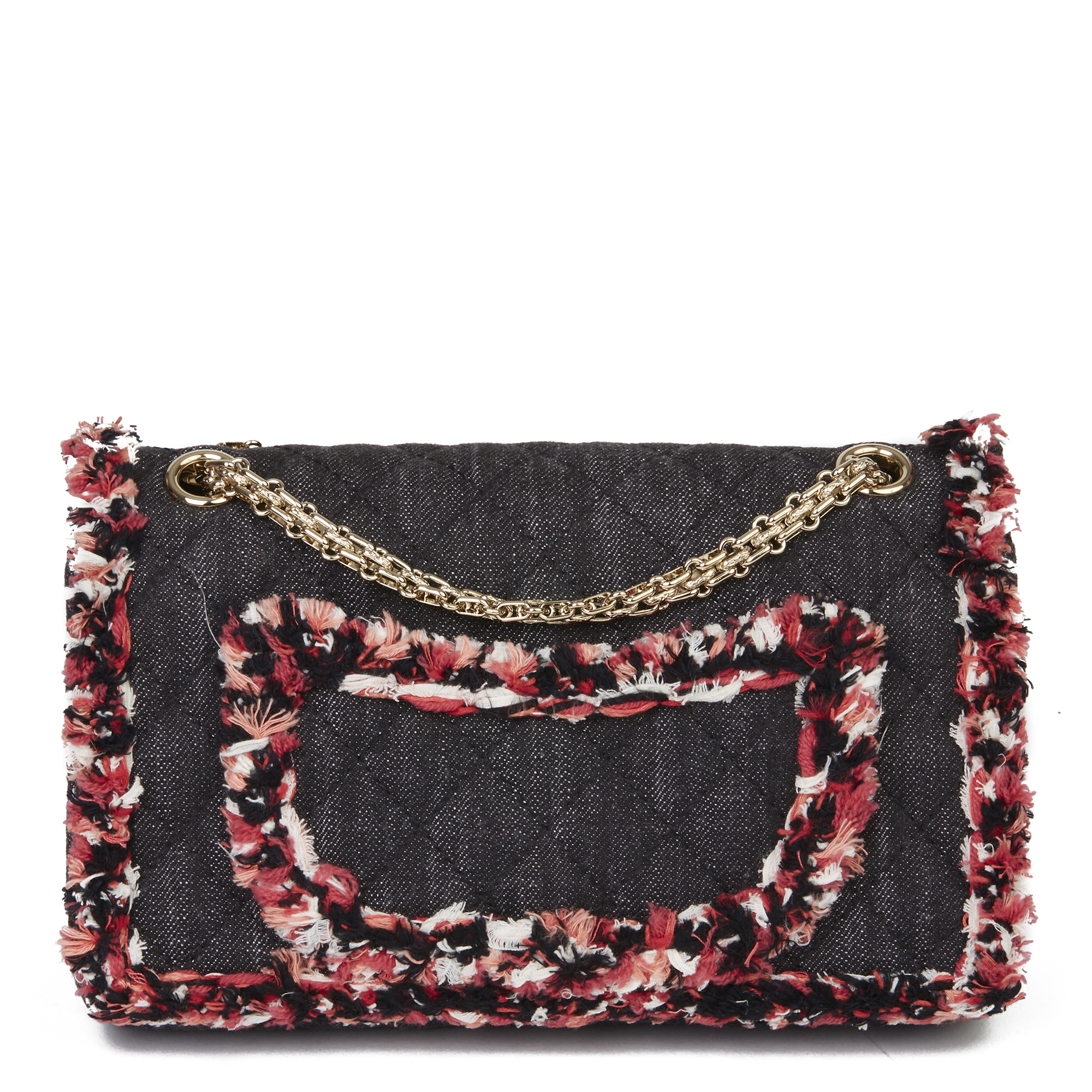 Chanel Black Quilted Denim & Pink Tweed 2.55 Reissue 225 Double Flap Bag - Image 10 of 12