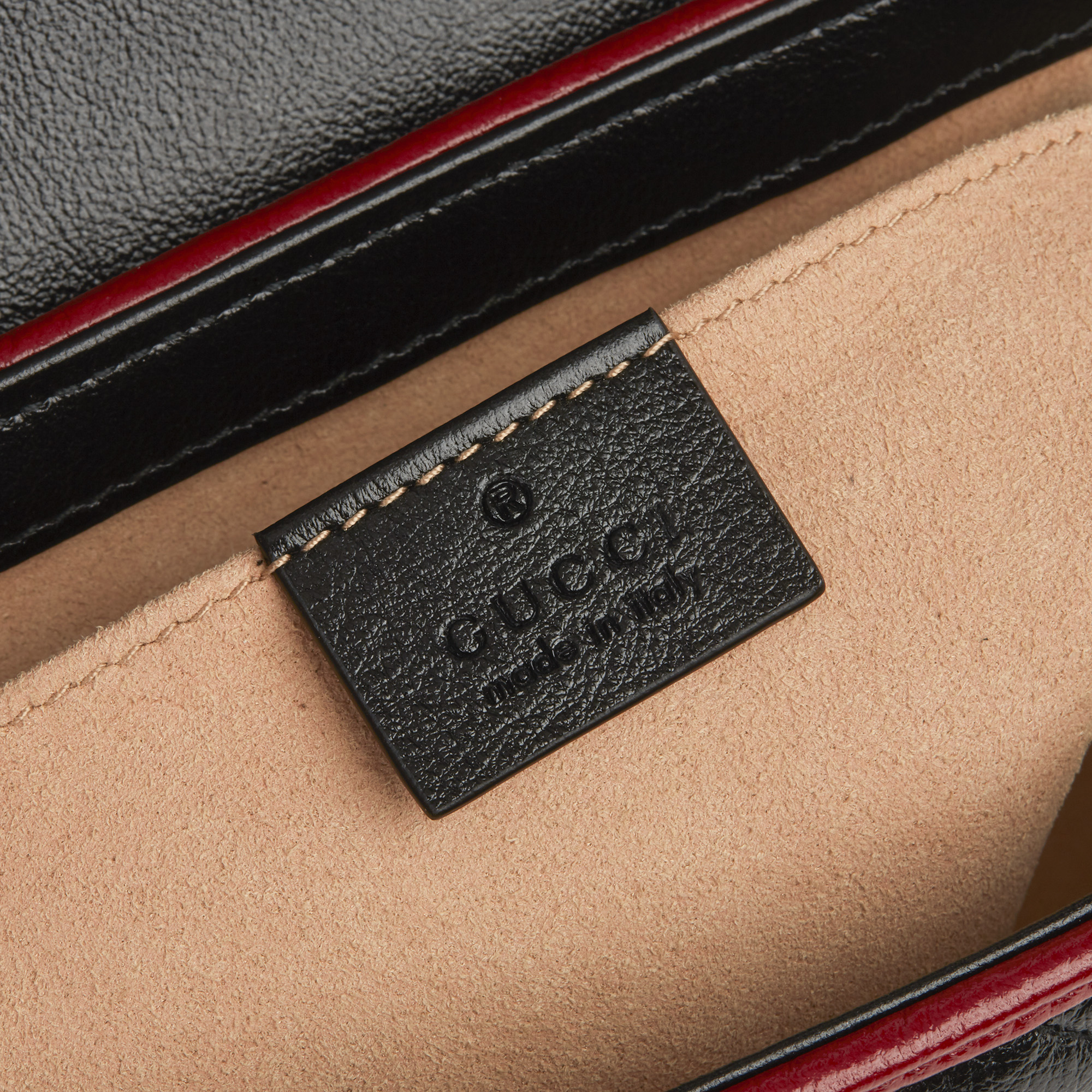 Gucci Black, Cream & Red Diagonal Quilted Aged Calfskin Leather Mini Marmont - Image 6 of 12