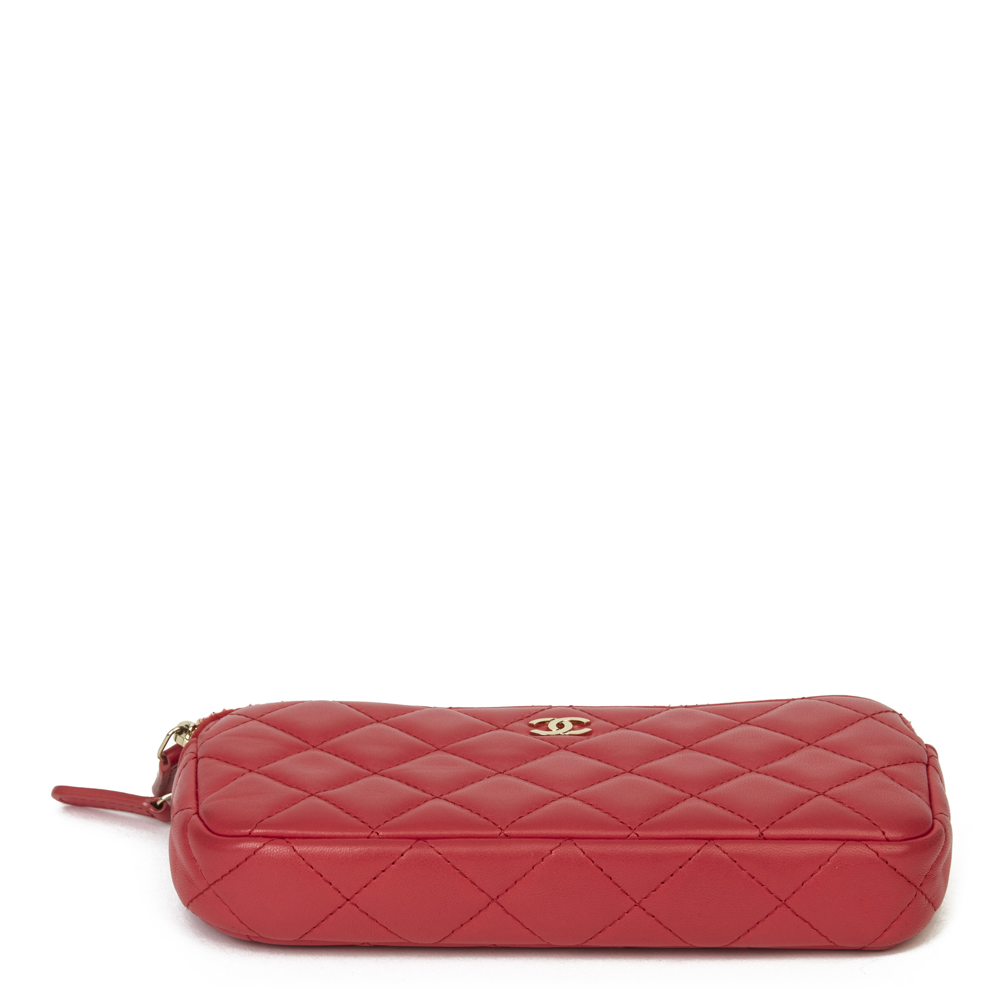 Chanel Red Quilted Lambskin Double Zip Wallet-on-Chain WOC - Image 9 of 11
