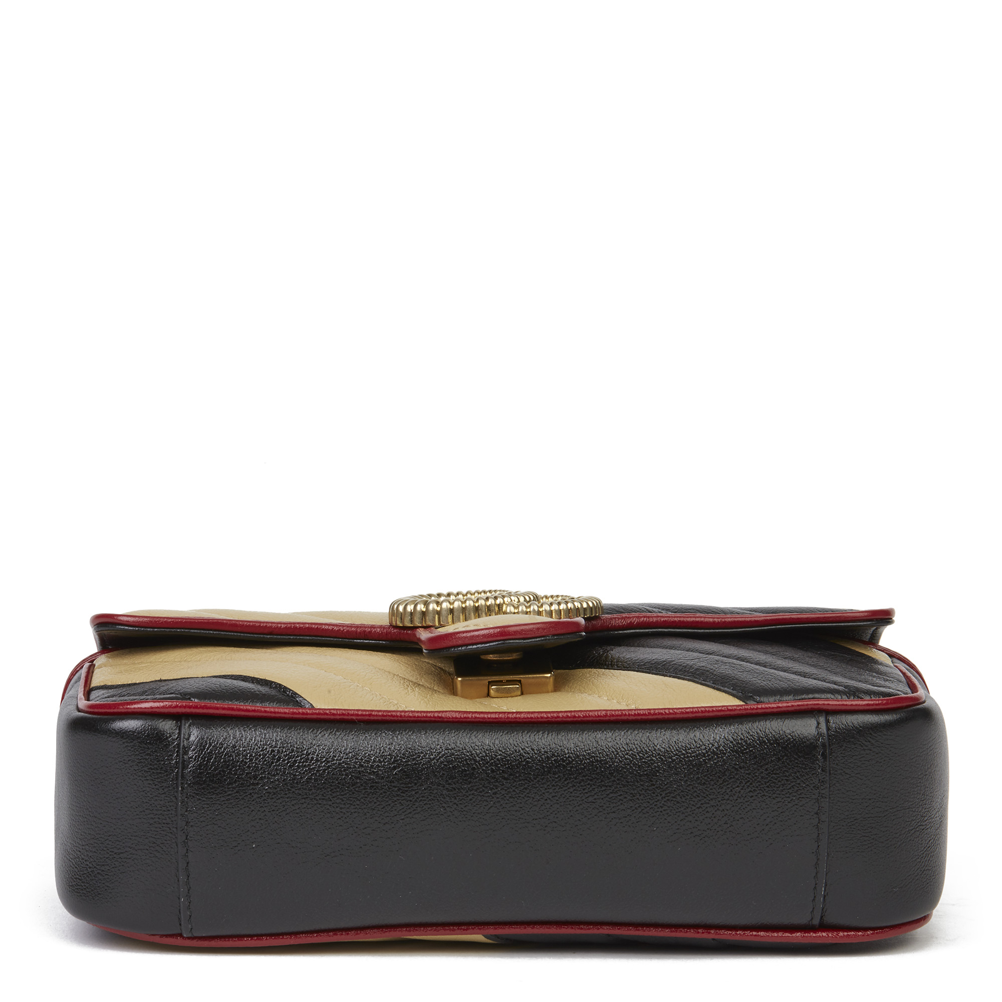 Gucci Black, Cream & Red Diagonal Quilted Aged Calfskin Leather Mini Marmont - Image 9 of 12