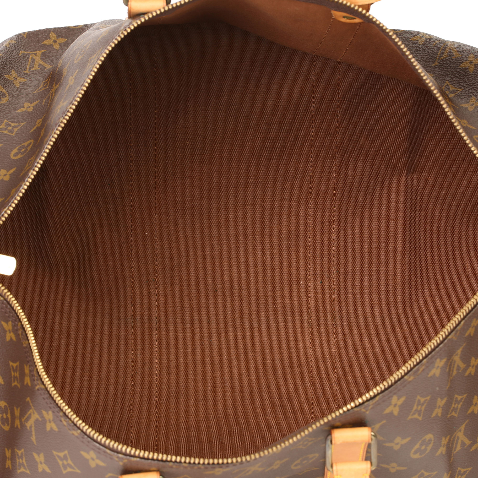 Louis Vuitton Brown Monogram Coated Canvas & Vachetta Leather Vintage Keepall 55 - Image 6 of 14