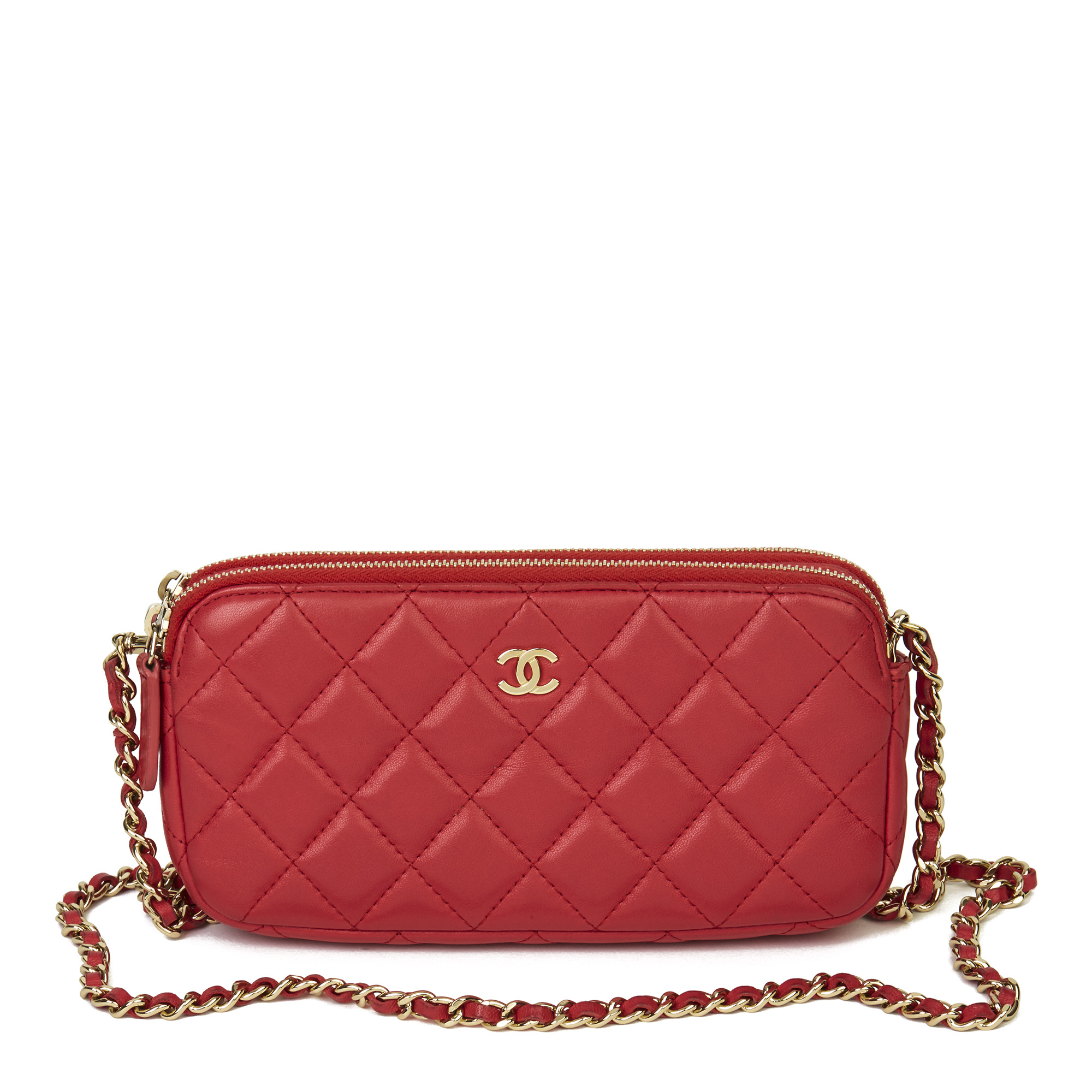 Chanel Red Quilted Lambskin Double Zip Wallet-on-Chain WOC