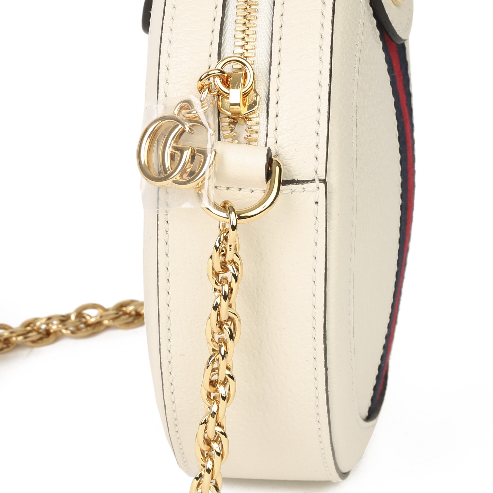 Gucci White Pigskin Leather Web Mini Round Orphidia Shoulder Bag - Image 6 of 11
