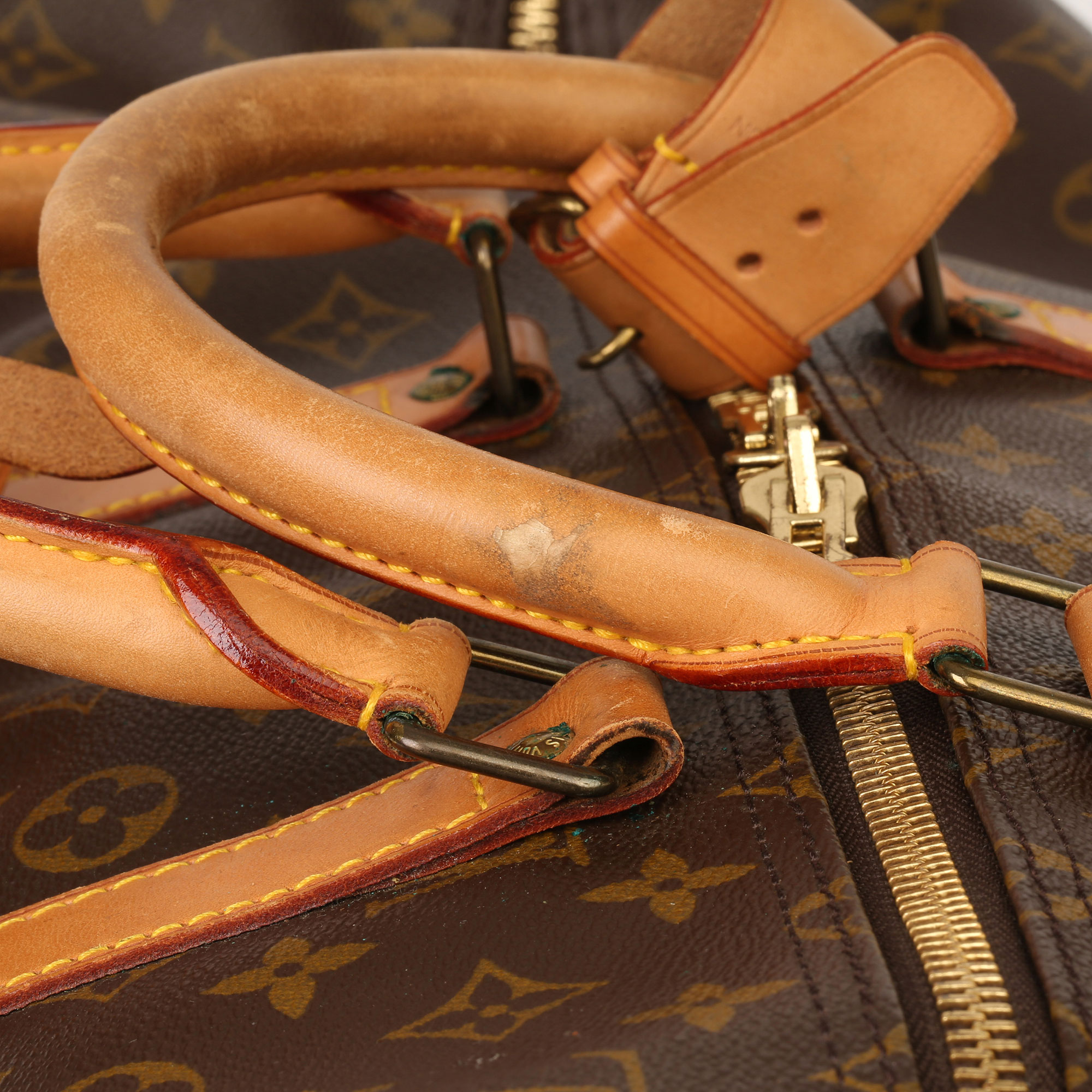 Louis Vuitton Brown Monogram Coated Canvas & Vachetta Leather Vintage Keepall 55 - Image 5 of 14