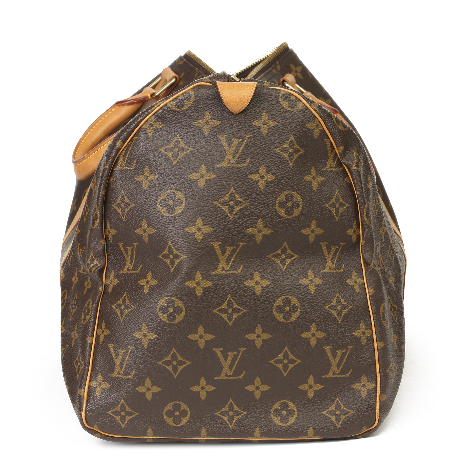 Louis Vuitton Brown Monogram Coated Canvas & Vachetta Leather Vintage Keepall 50 - Image 10 of 11