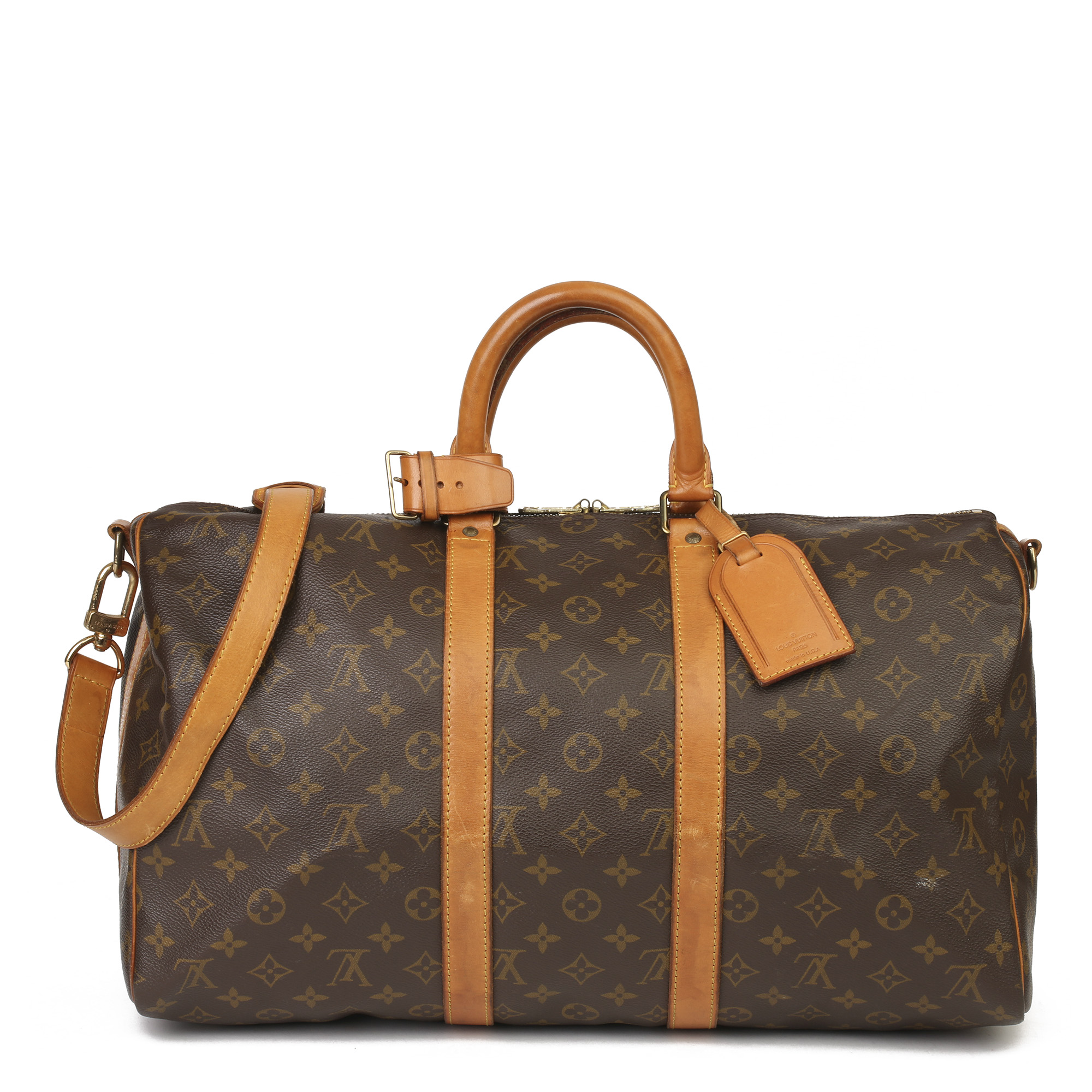 Louis Vuitton Brown Monogram Coated Canvas & Vachetta Leather Vintage Keepall 45 Bandoulire