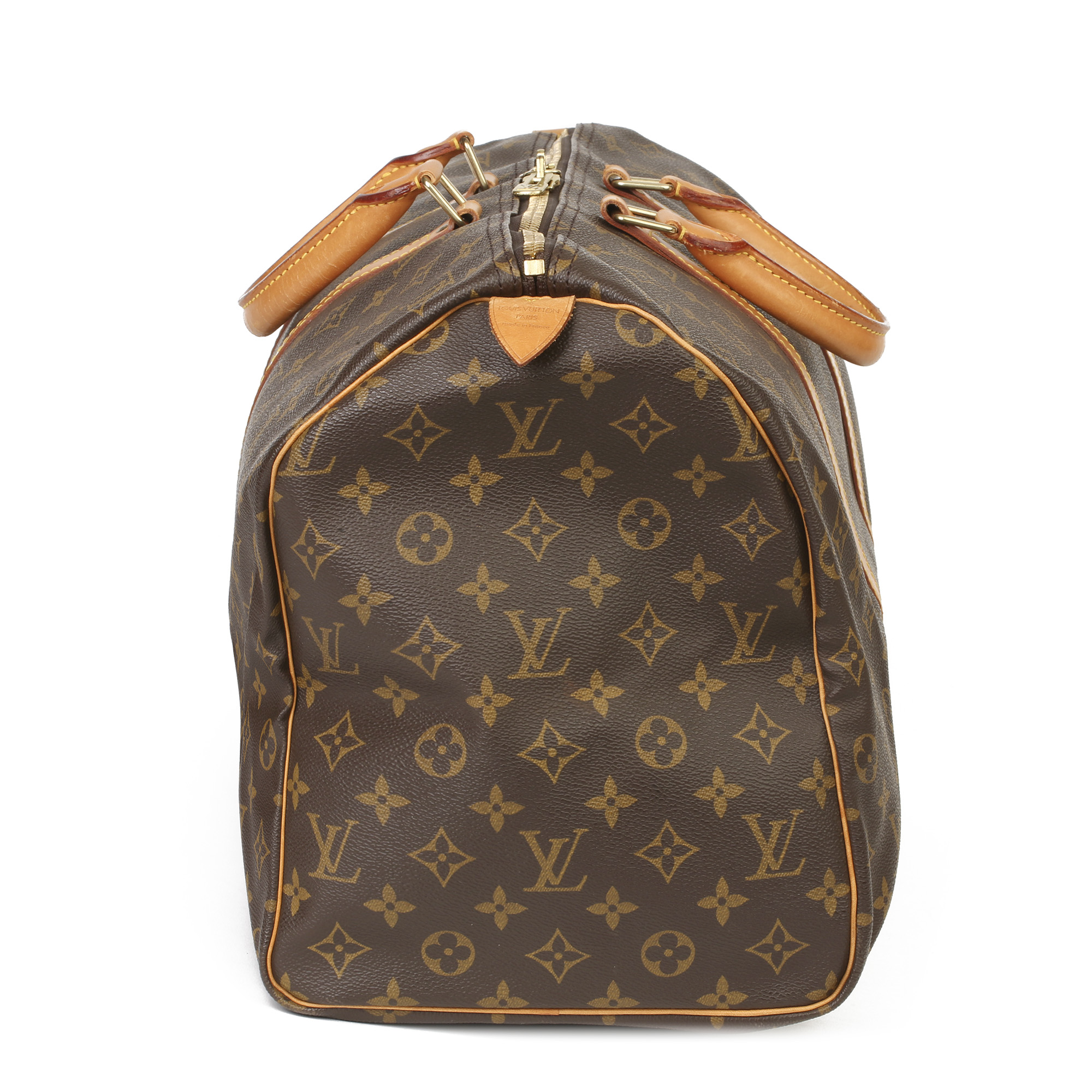 Louis Vuitton Brown Monogram Coated Canvas & Vachetta Leather Vintage Keepall 50 - Image 11 of 11