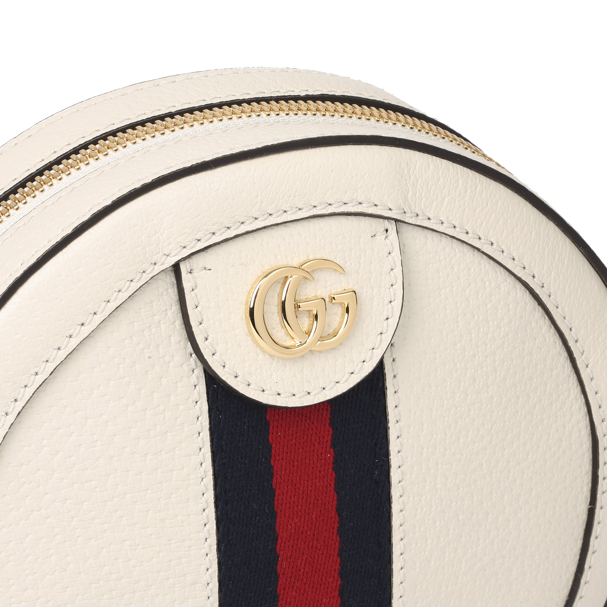 Gucci White Pigskin Leather Web Mini Round Orphidia Shoulder Bag - Image 7 of 11