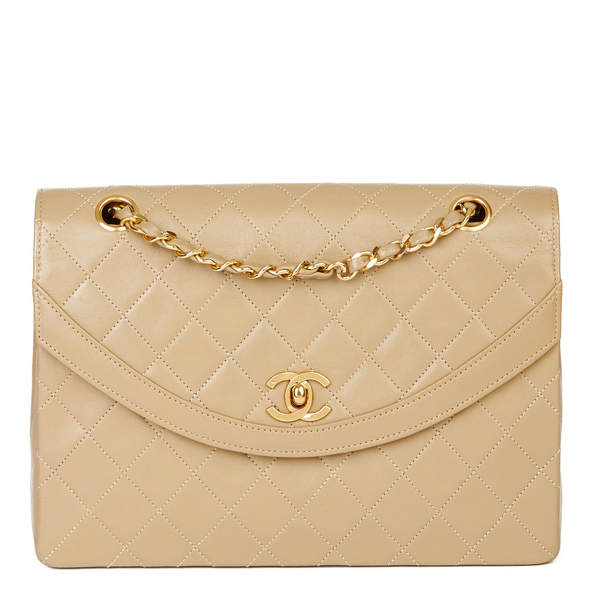 Chanel Dark Beige Quilted Lambskin Vintage Classic Single Flap Bag