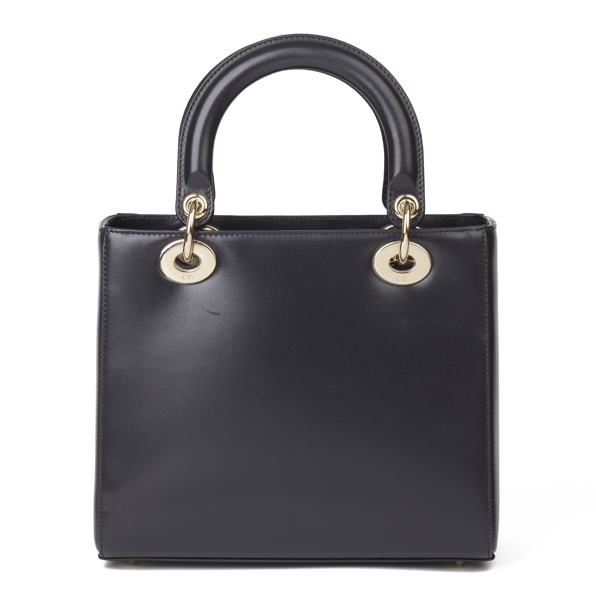 Christian Dior Navy Smooth Calfskin Leather Pocket Detail Medium Lady Dior - Image 8 of 10