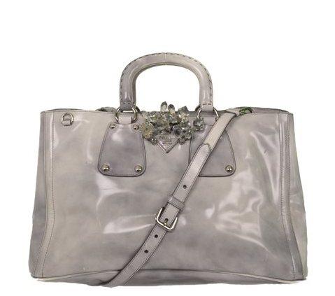 Prada - Crystal Embellished Vitello Shiny Leather Hand Bag