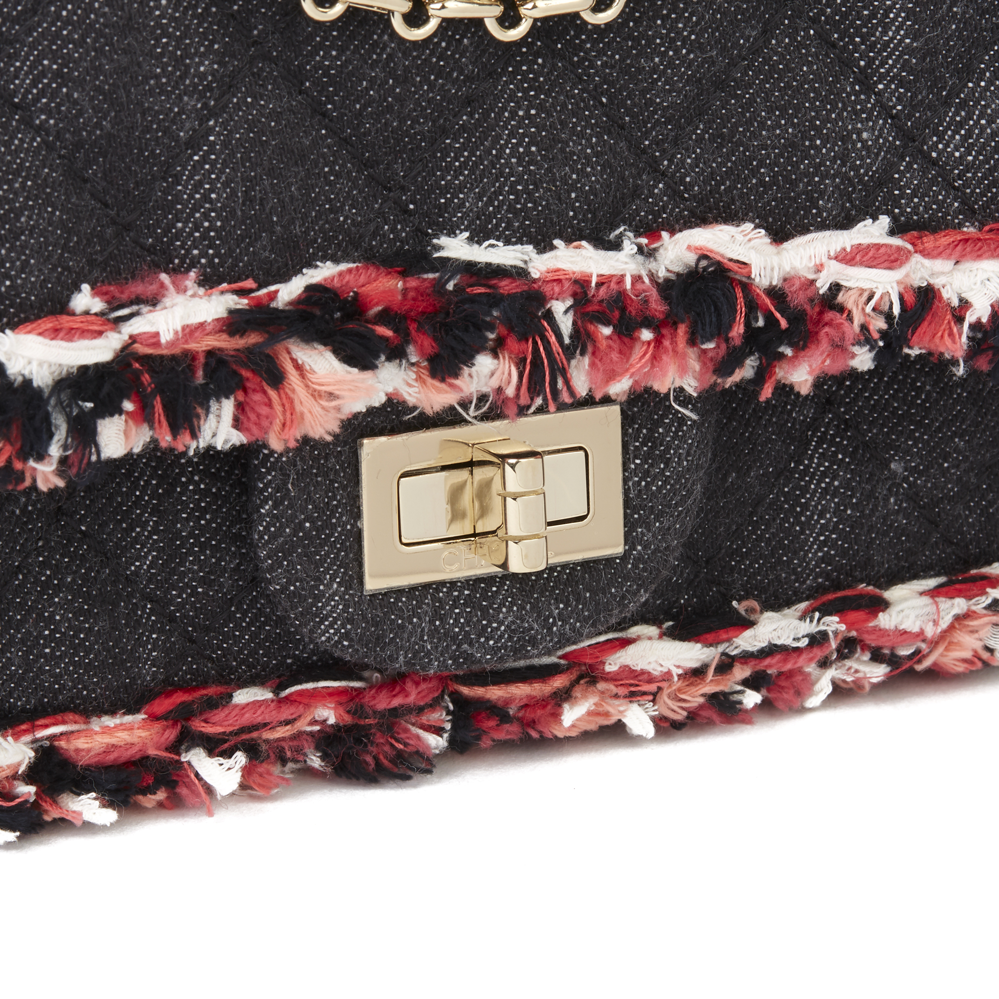Chanel Black Quilted Denim & Pink Tweed 2.55 Reissue 225 Double Flap Bag - Image 8 of 12