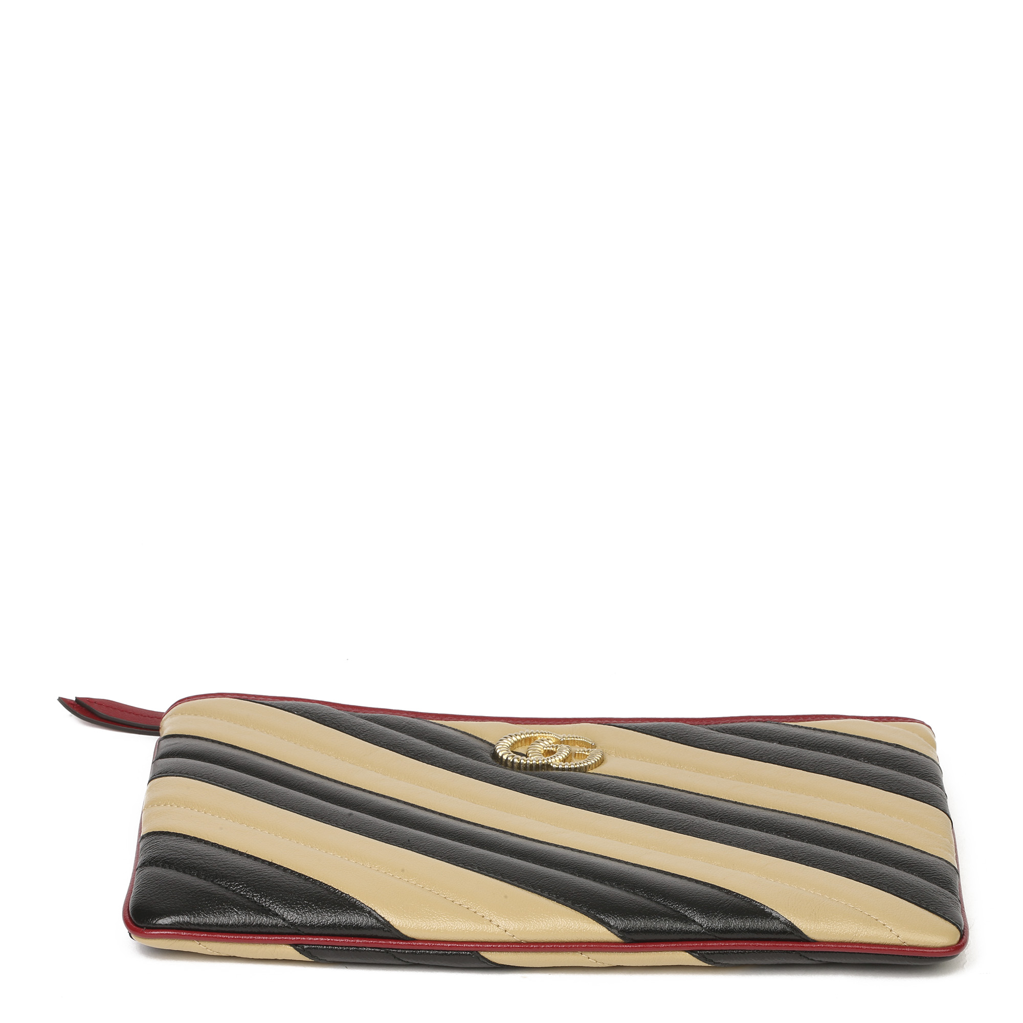 Gucci Black, Cream & Red Diagonal Quilted Aged Calfskin Leather Marmont Pouch - Image 8 of 11