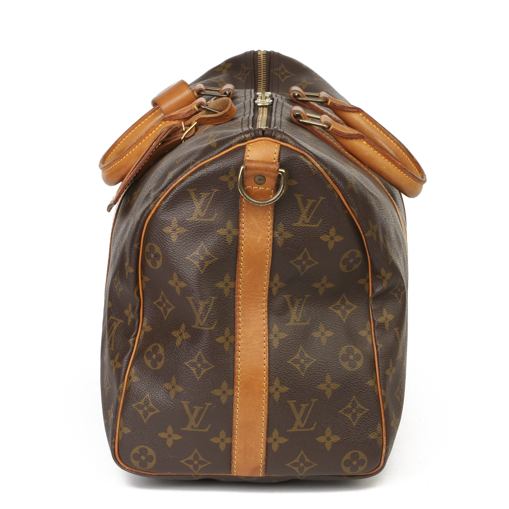 Louis Vuitton Brown Monogram Coated Canvas & Vachetta Leather Vintage Keepall 45 Bandoulire - Image 12 of 13