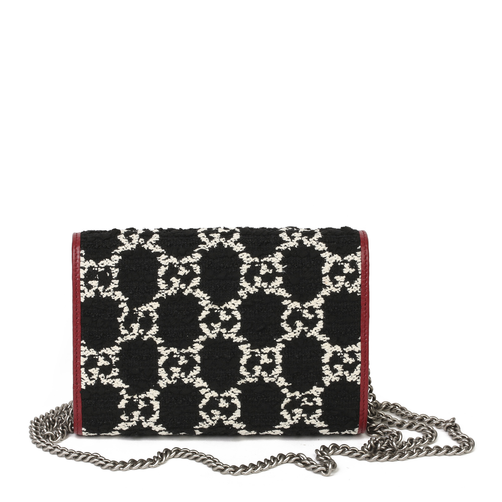 Gucci Red Calfskin & Black, White GG Tweed Dionysus Wallet-on-Chain - Image 9 of 11