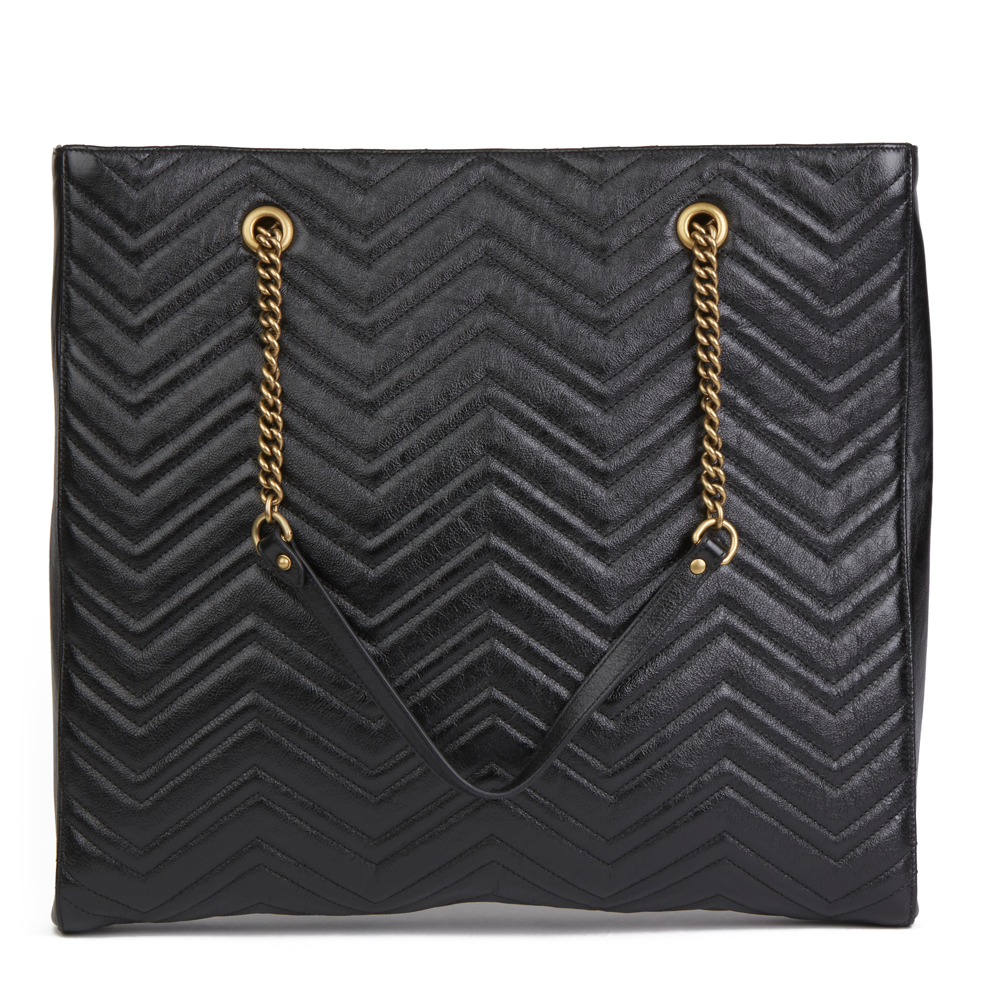 Gucci Black Quilted Shiny Calfskin Leather Marmont Shoulder Tote - Image 10 of 12