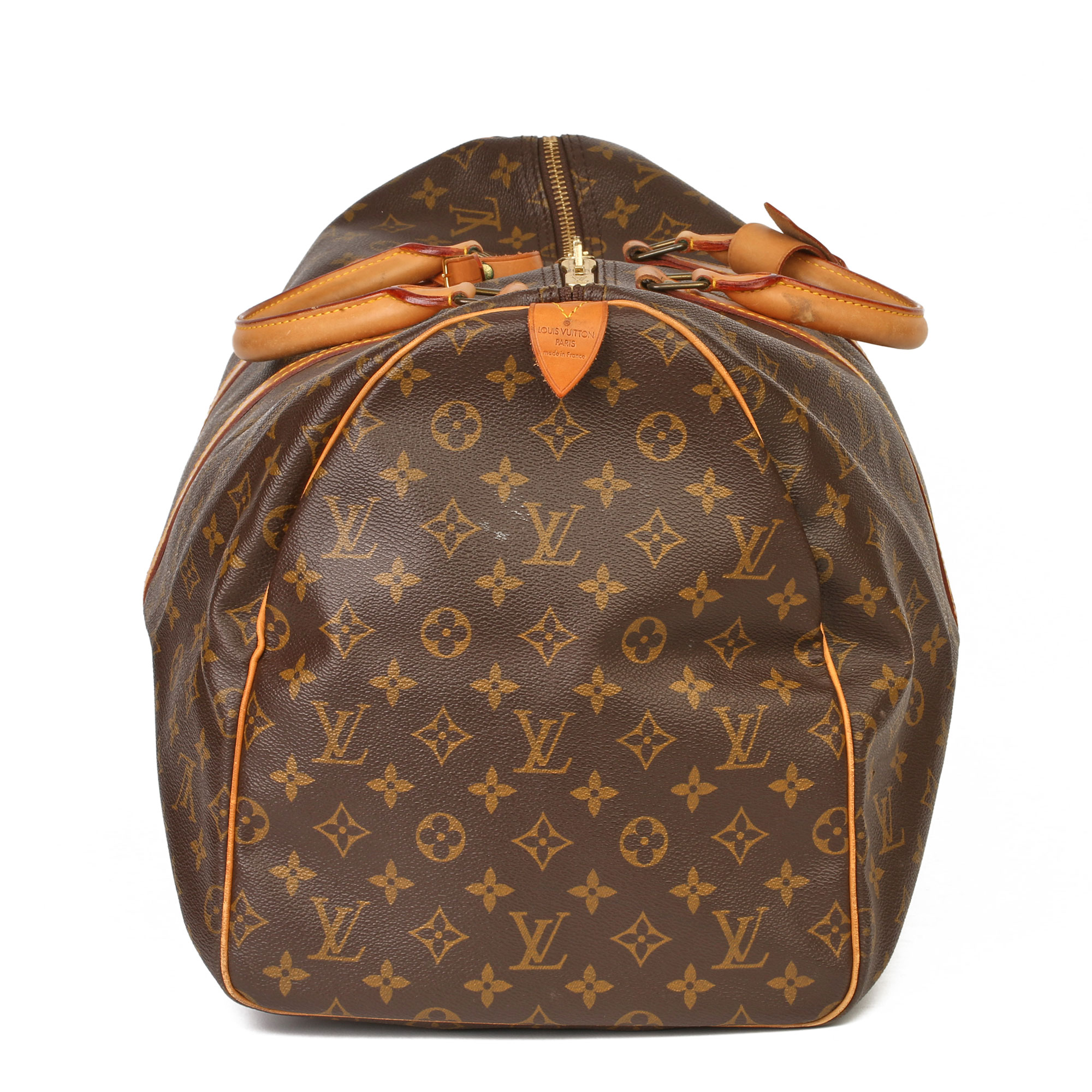 Louis Vuitton Brown Monogram Coated Canvas & Vachetta Leather Vintage Keepall 55 - Image 13 of 14