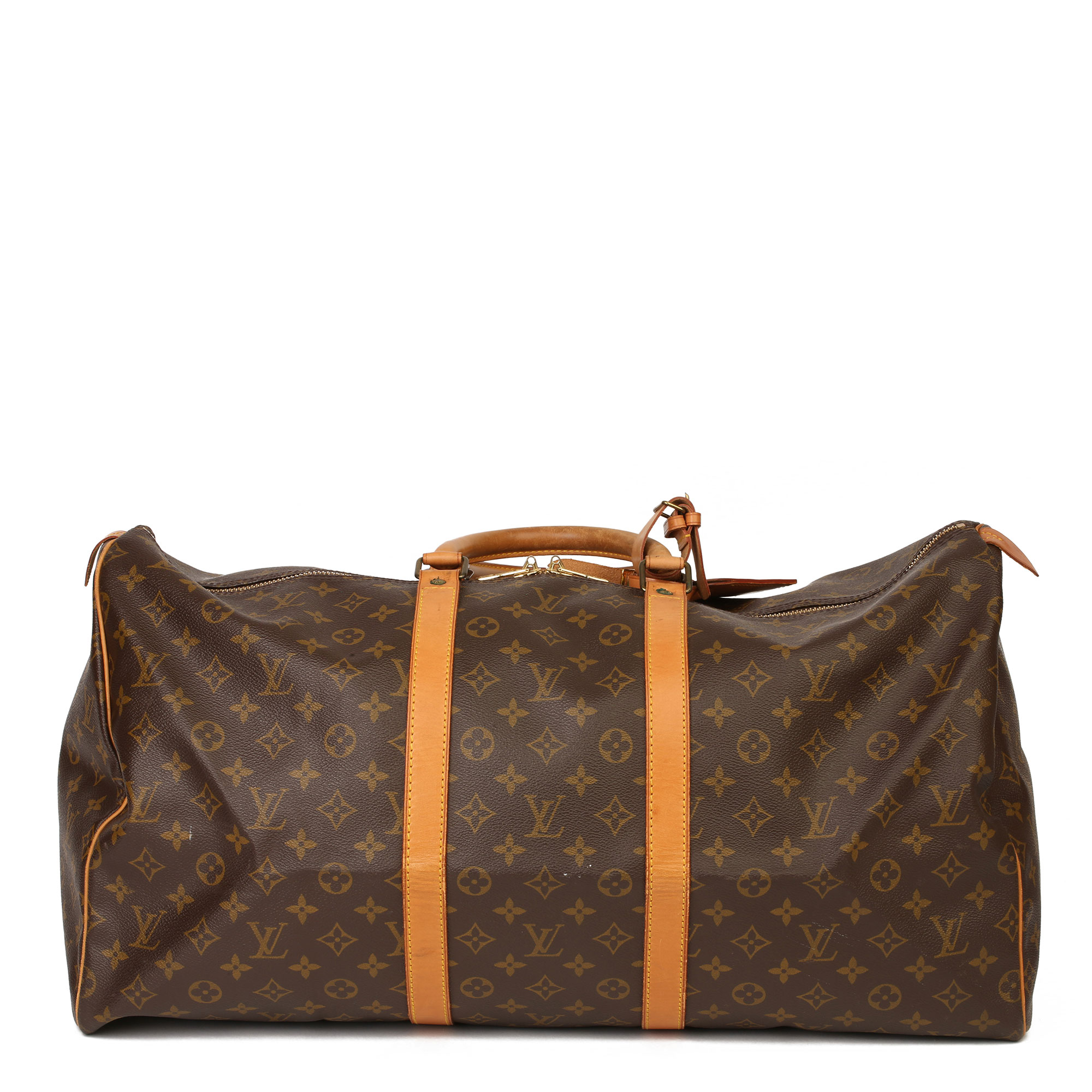 Louis Vuitton Brown Monogram Coated Canvas & Vachetta Leather Vintage Keepall 55 - Image 12 of 14
