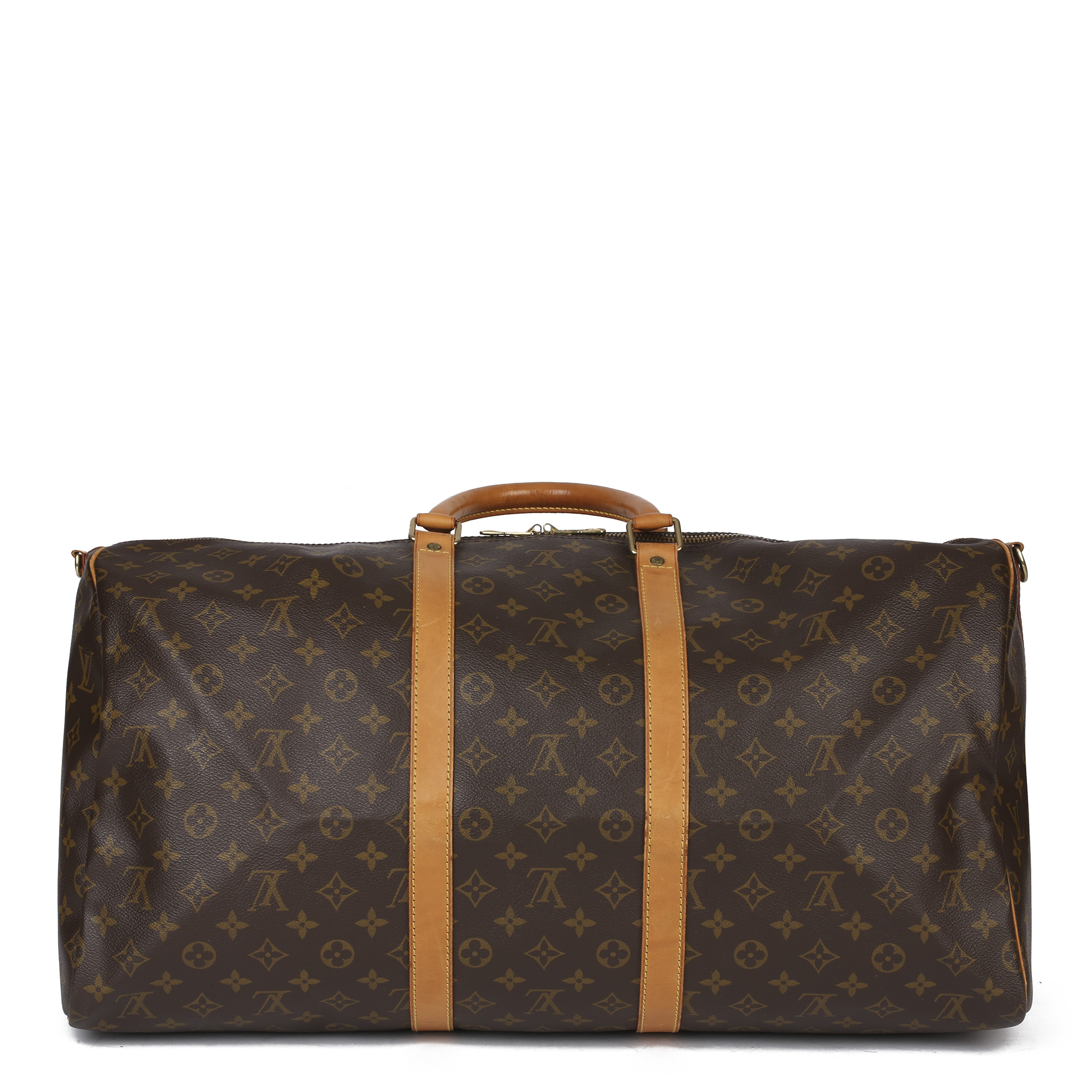 Louis Vuitton Brown Monogram Coated Canvas & Vachetta Leather Vintage Keepall 55 Bandoulire - Image 8 of 10