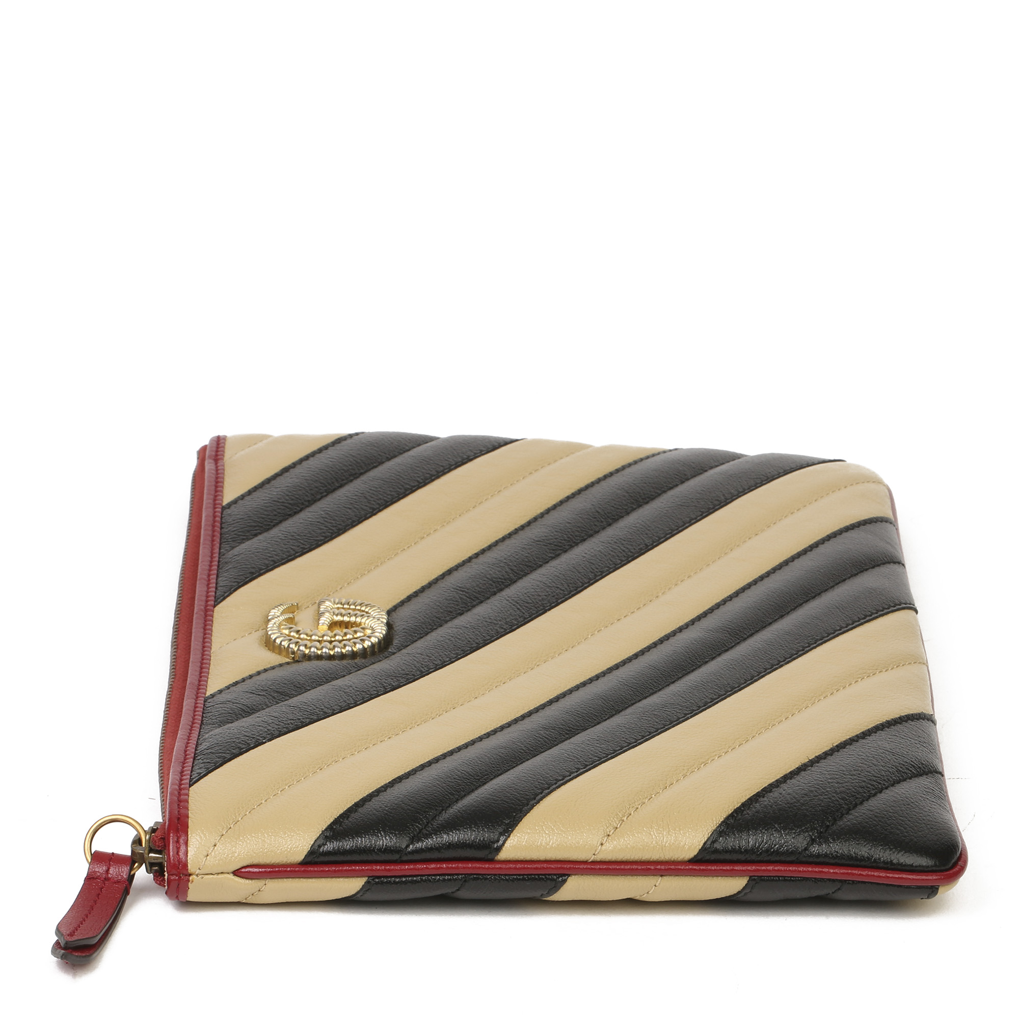Gucci Black, Cream & Red Diagonal Quilted Aged Calfskin Leather Marmont Pouch - Image 11 of 11
