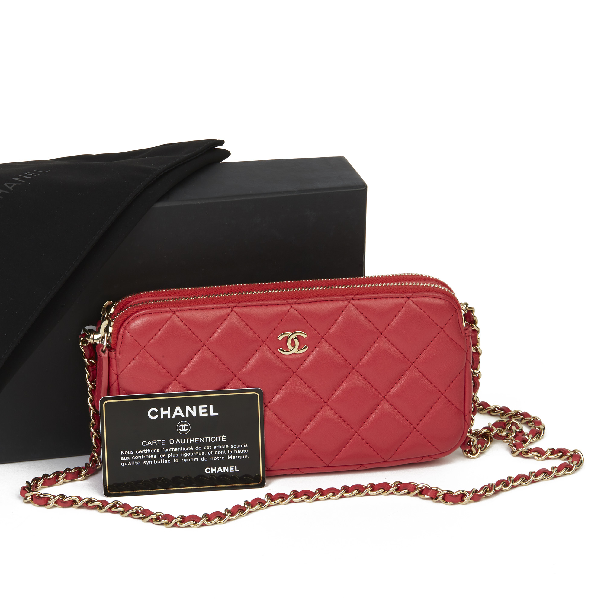 Chanel Red Quilted Lambskin Double Zip Wallet-on-Chain WOC - Image 3 of 11