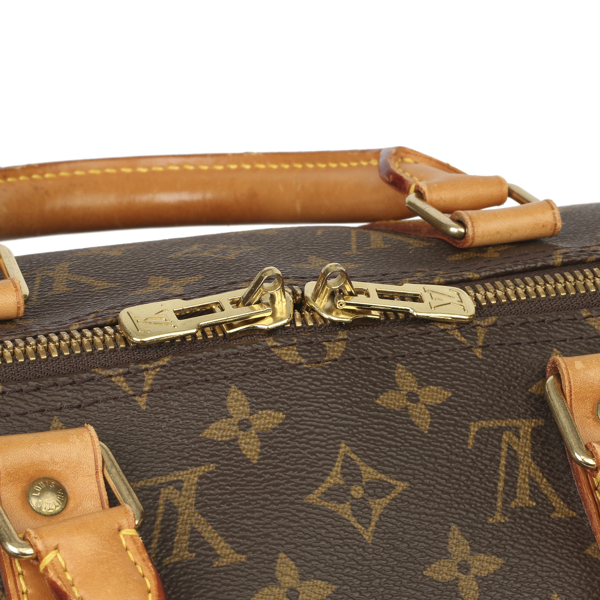 Louis Vuitton Brown Monogram Coated Canvas & Vachetta Leather Vintage Keepall 50 - Image 7 of 11