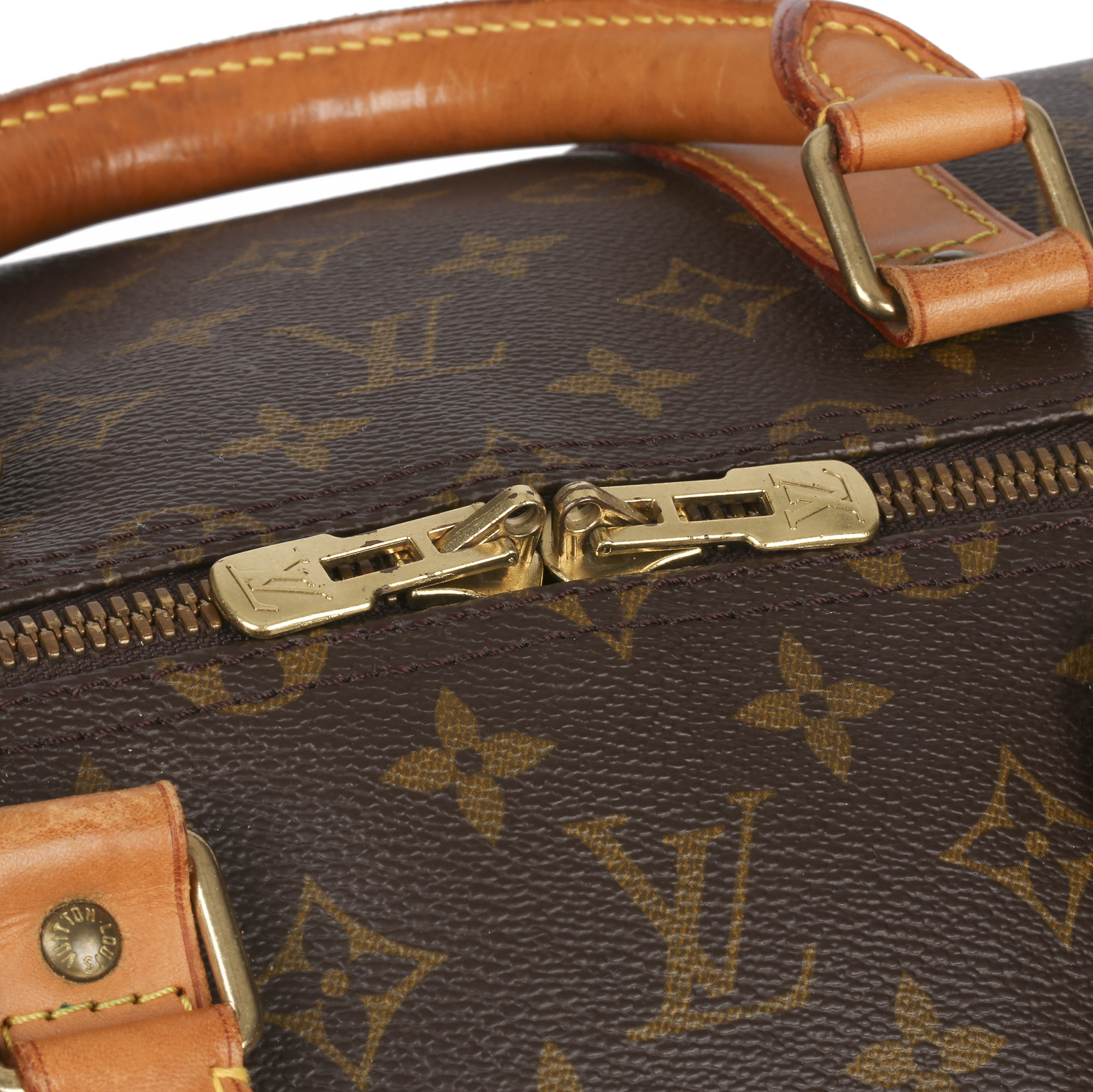 Louis Vuitton Brown Monogram Coated Canvas & Vachetta Leather Vintage Keepall 55 Bandoulire - Image 5 of 10