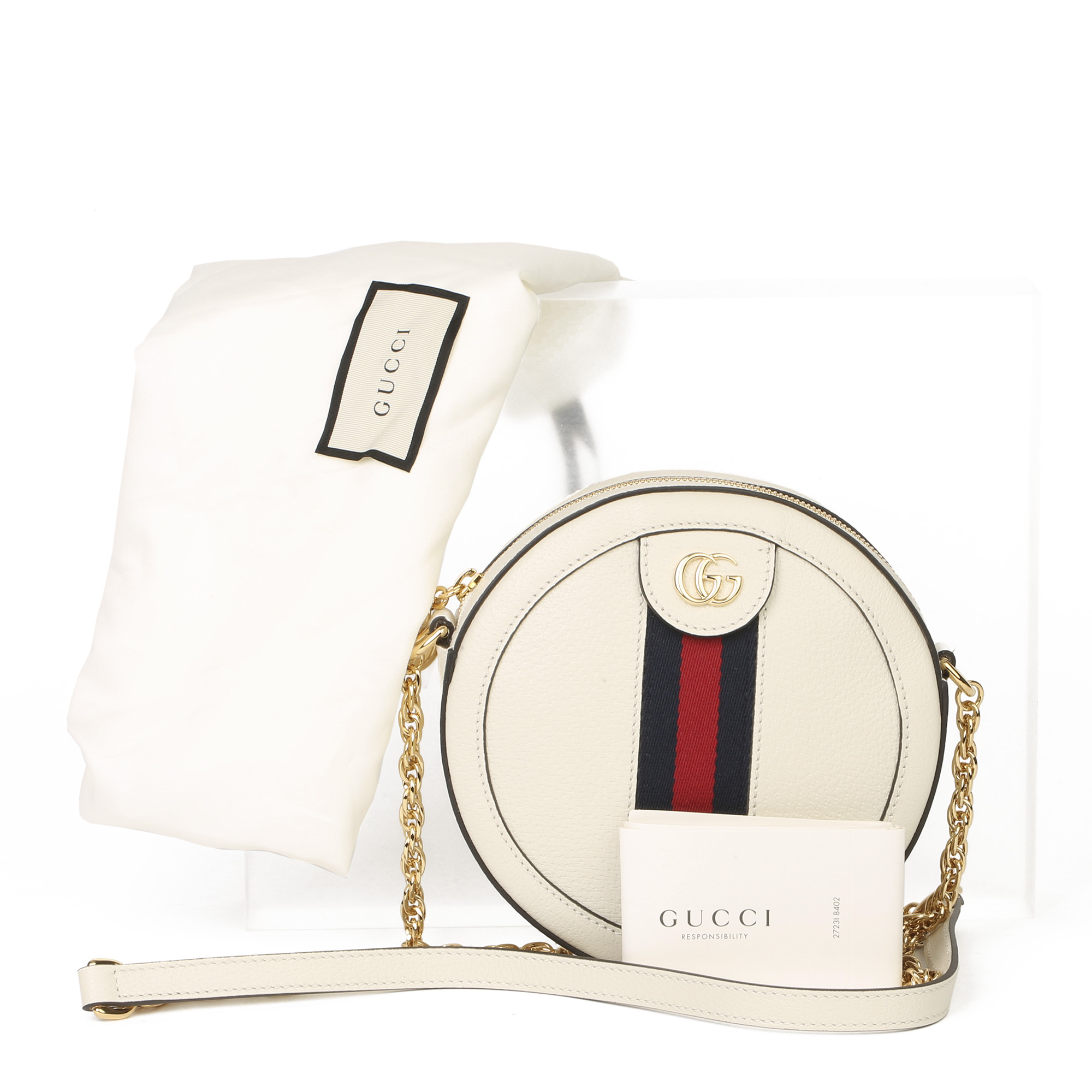 Gucci White Pigskin Leather Web Mini Round Orphidia Shoulder Bag - Image 2 of 11