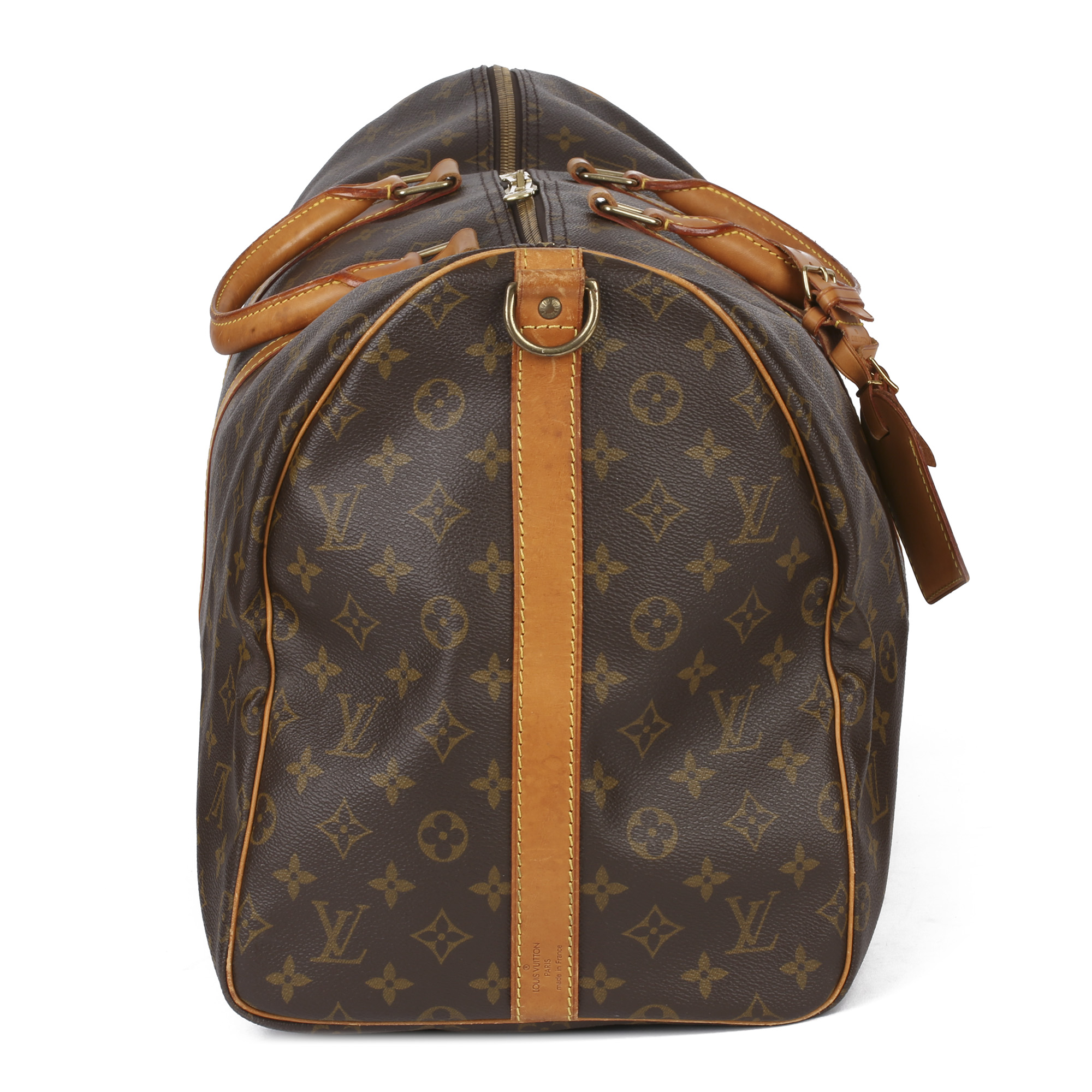 Louis Vuitton Brown Monogram Coated Canvas & Vachetta Leather Vintage Keepall 55 Bandoulire - Image 10 of 10