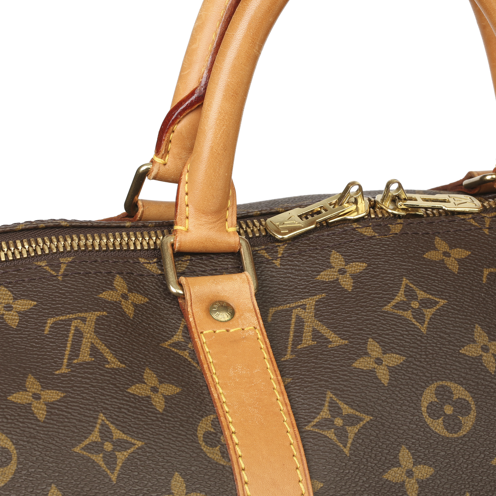 Louis Vuitton Brown Monogram Coated Canvas & Vachetta Leather Vintage Keepall 50 - Image 5 of 11