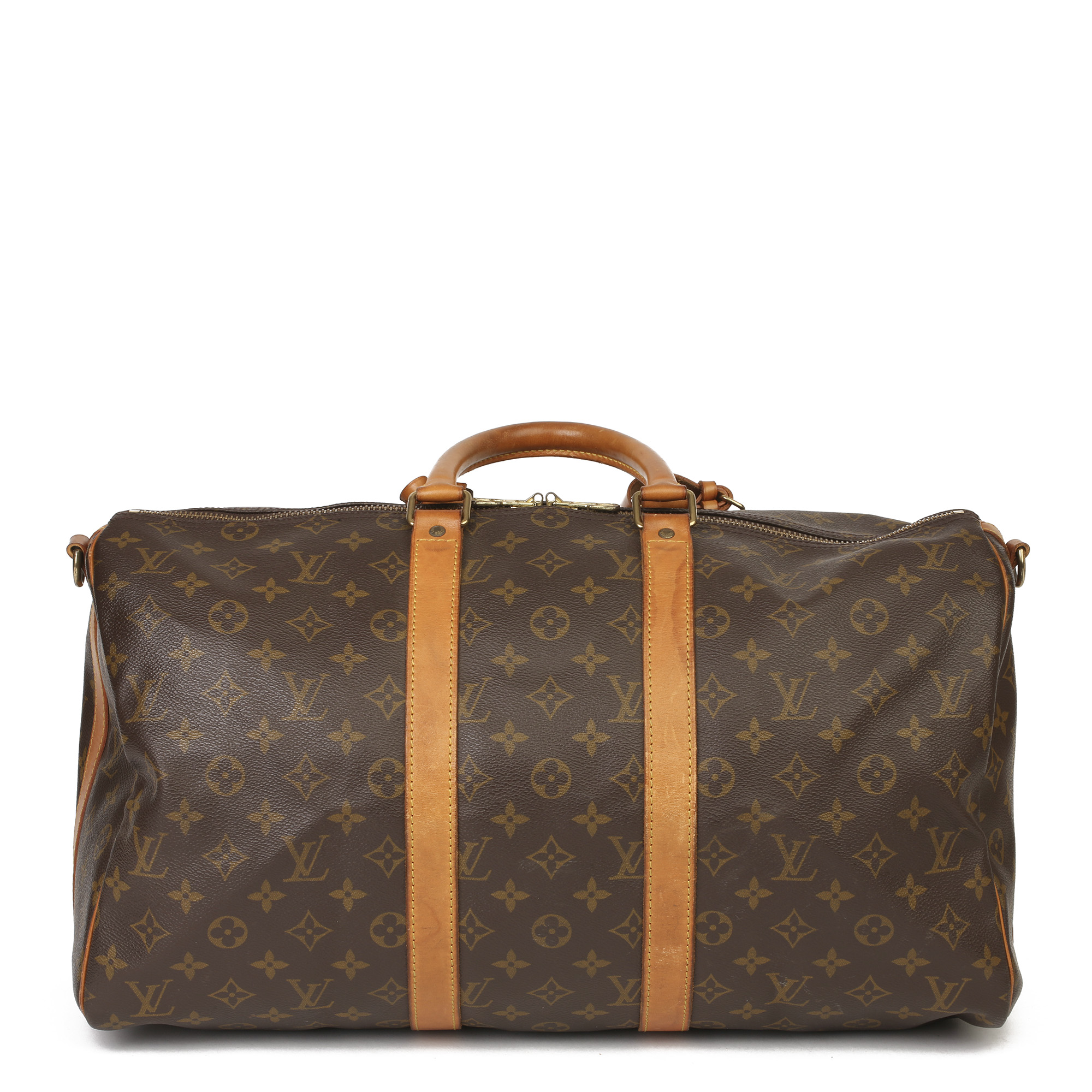 Louis Vuitton Brown Monogram Coated Canvas & Vachetta Leather Vintage Keepall 45 Bandoulire - Image 11 of 13