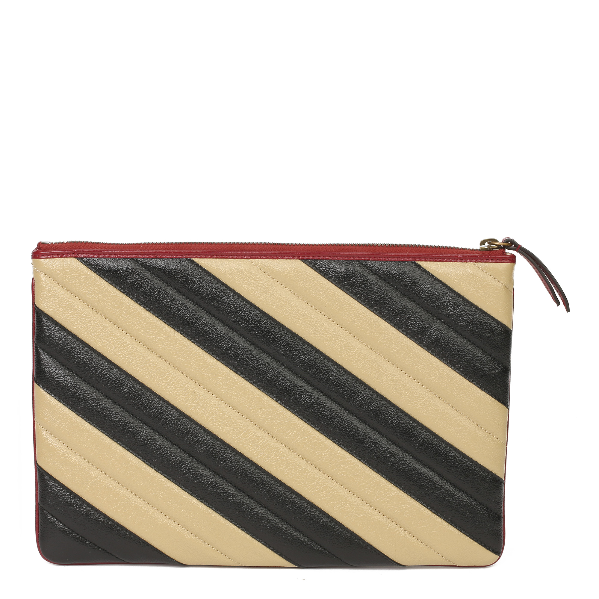 Gucci Black, Cream & Red Diagonal Quilted Aged Calfskin Leather Marmont Pouch - Image 9 of 11