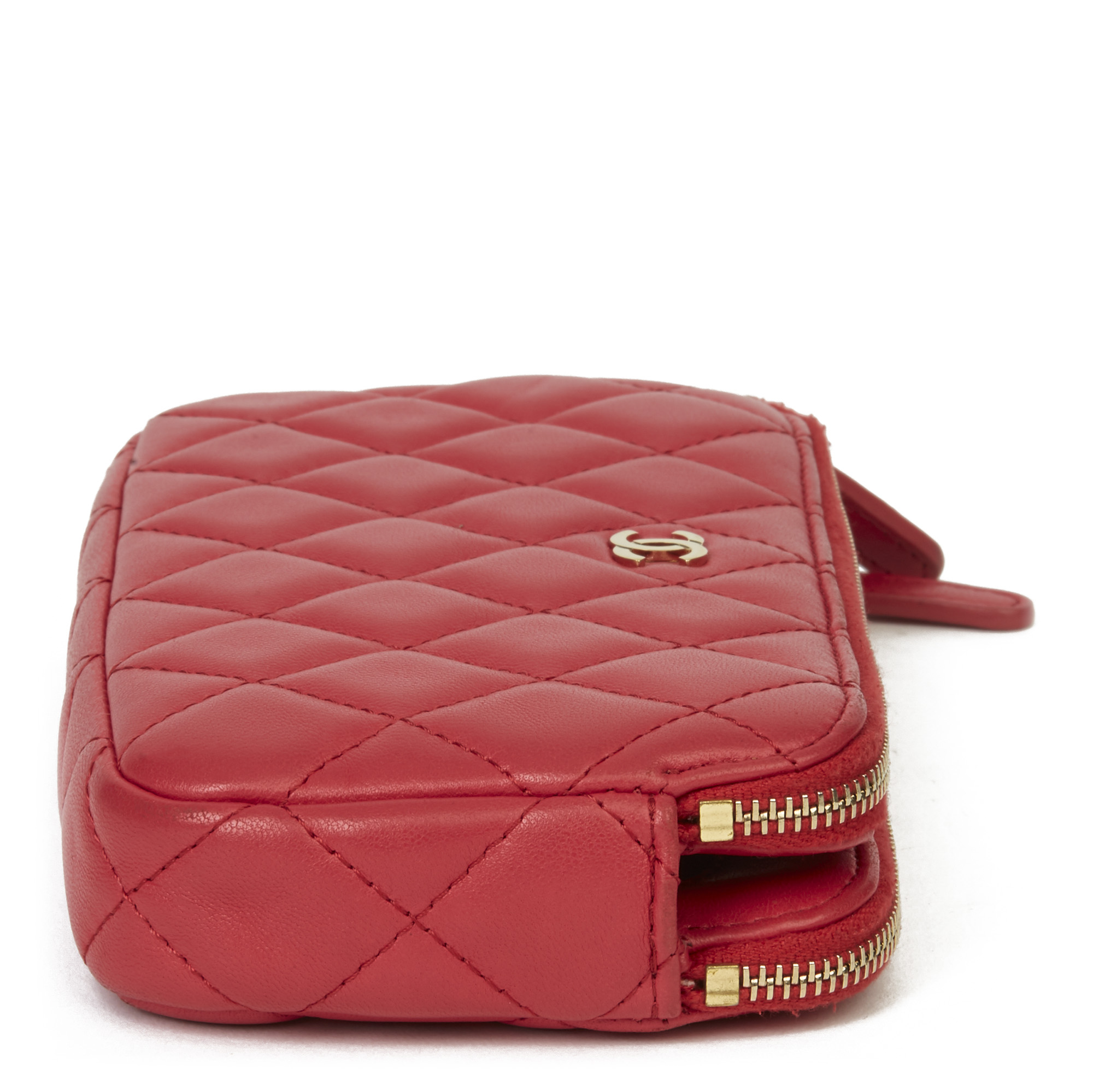 Chanel Red Quilted Lambskin Double Zip Wallet-on-Chain WOC - Image 10 of 11
