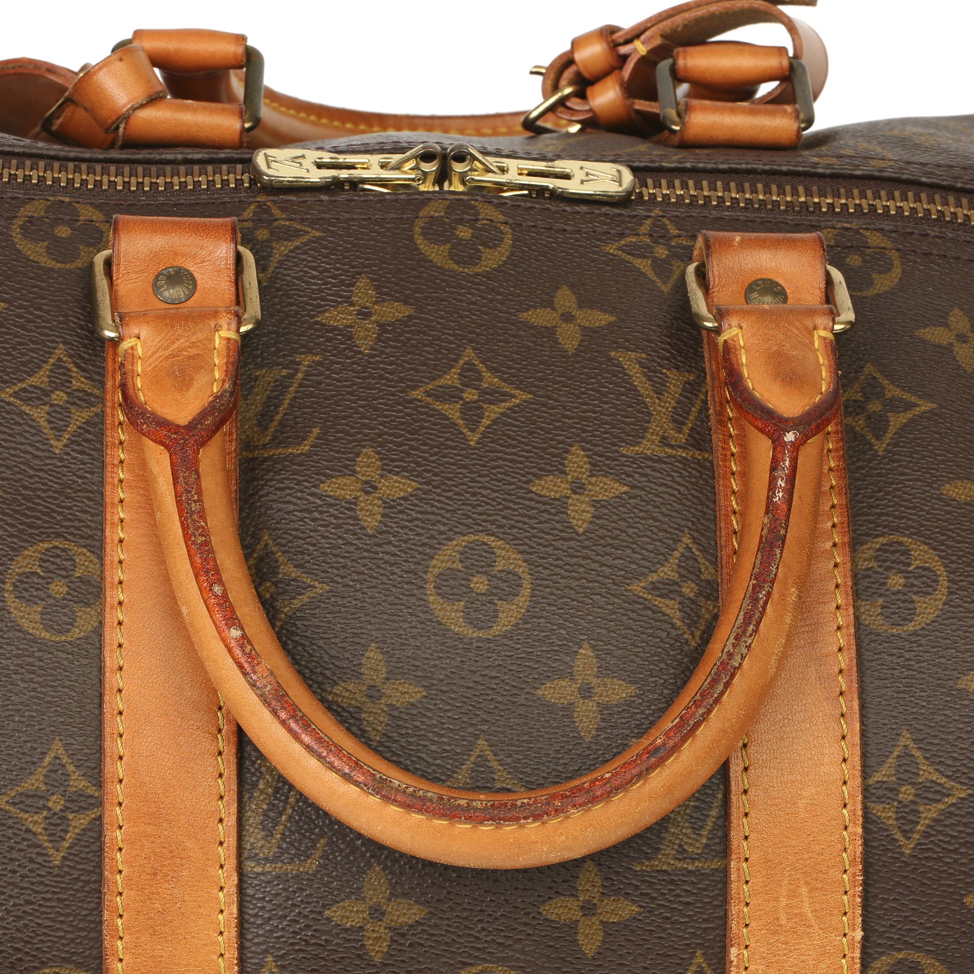 Louis Vuitton Brown Monogram Coated Canvas & Vachetta Leather Vintage Keepall 45 Bandoulire - Image 6 of 13