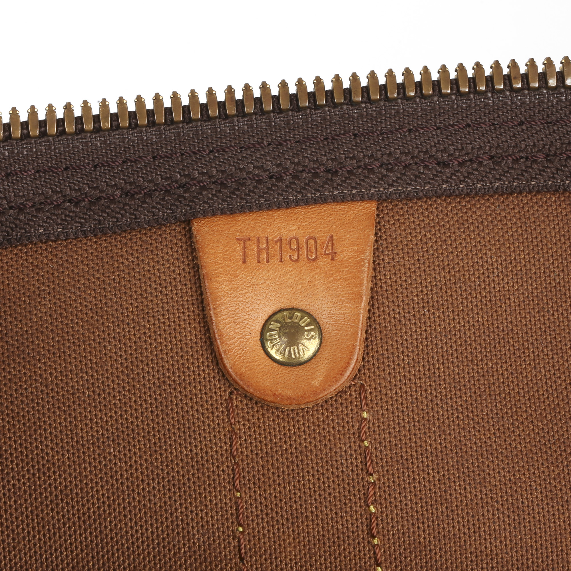Louis Vuitton Brown Monogram Coated Canvas & Vachetta Leather Vintage Keepall 55 Bandoulire - Image 4 of 10