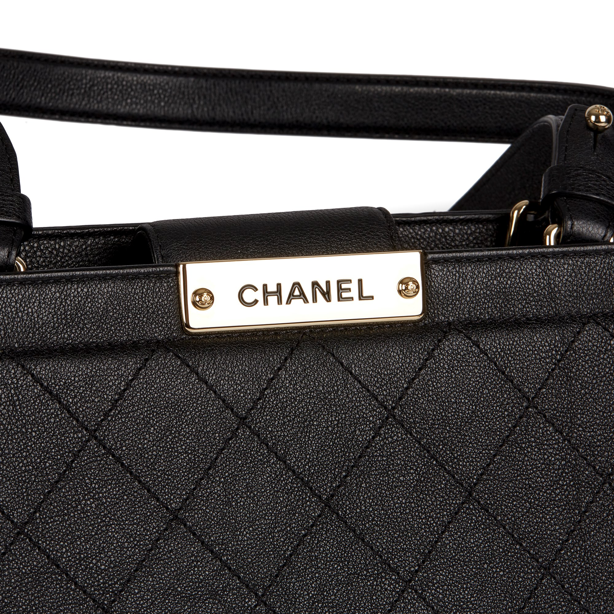 Chanel Black Quilted Calfskin Leather Large Label Click bidping Tote - Image 6 of 11
