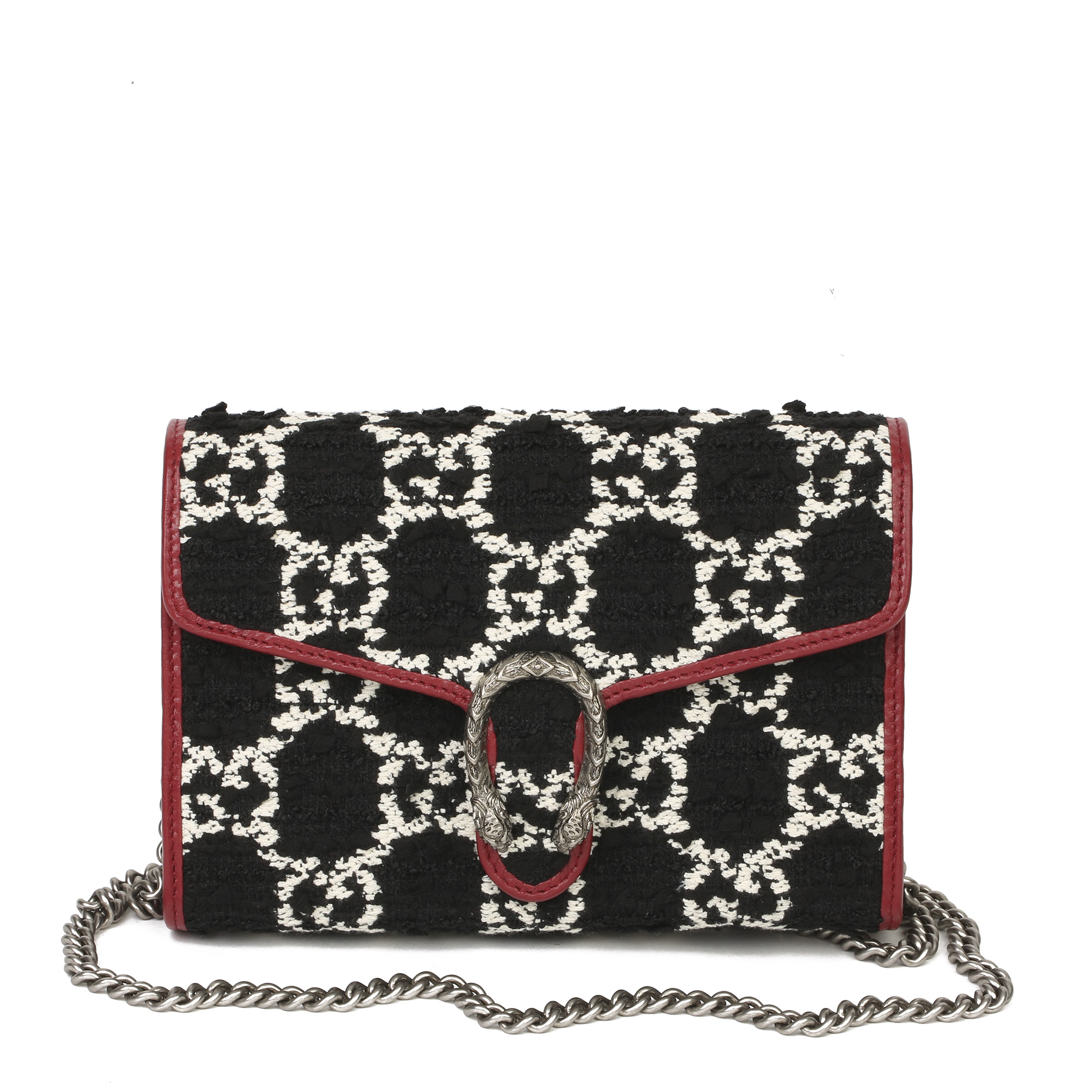 Gucci Red Calfskin & Black, White GG Tweed Dionysus Wallet-on-Chain