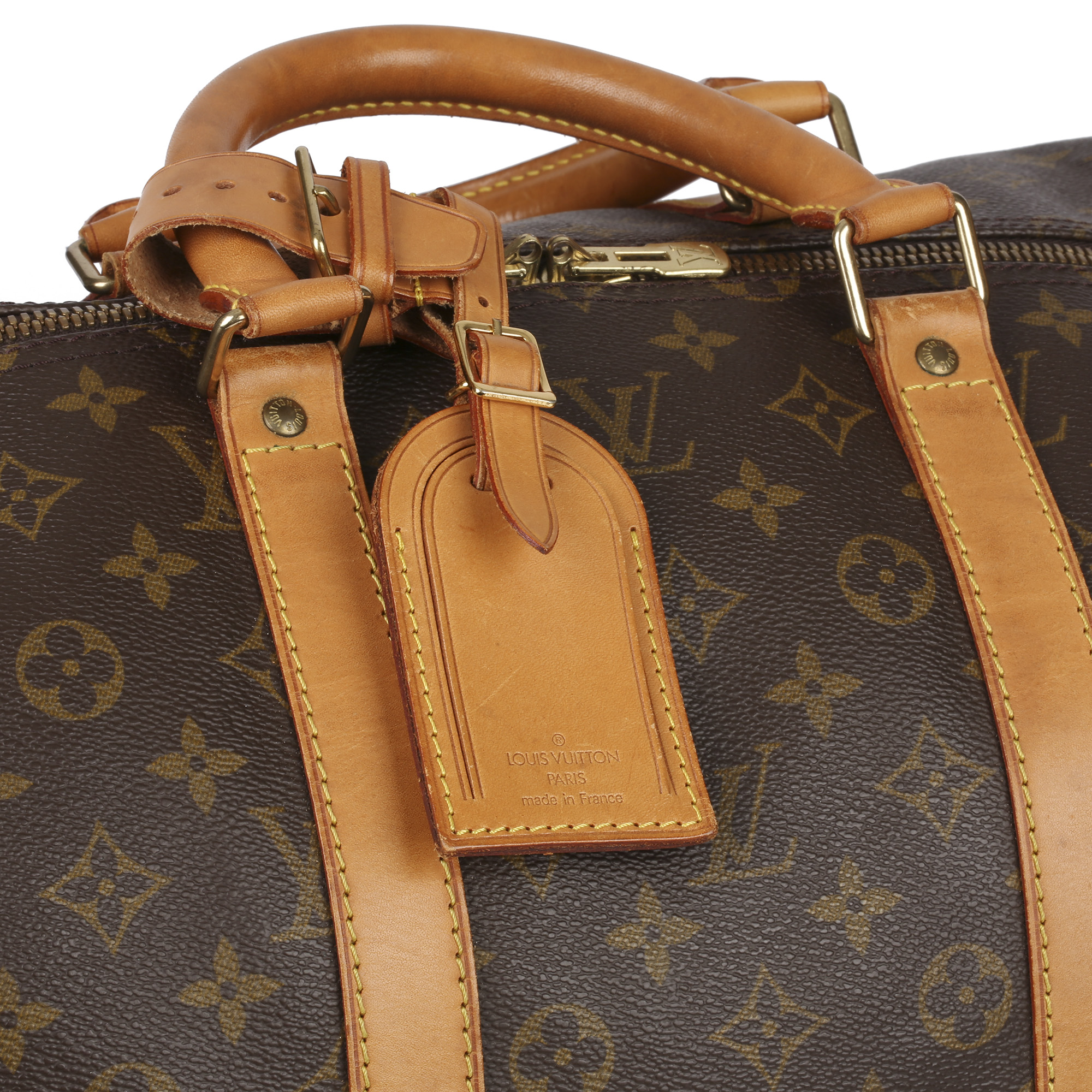 Louis Vuitton Brown Monogram Coated Canvas & Vachetta Leather Vintage Keepall 55 Bandoulire - Image 6 of 10