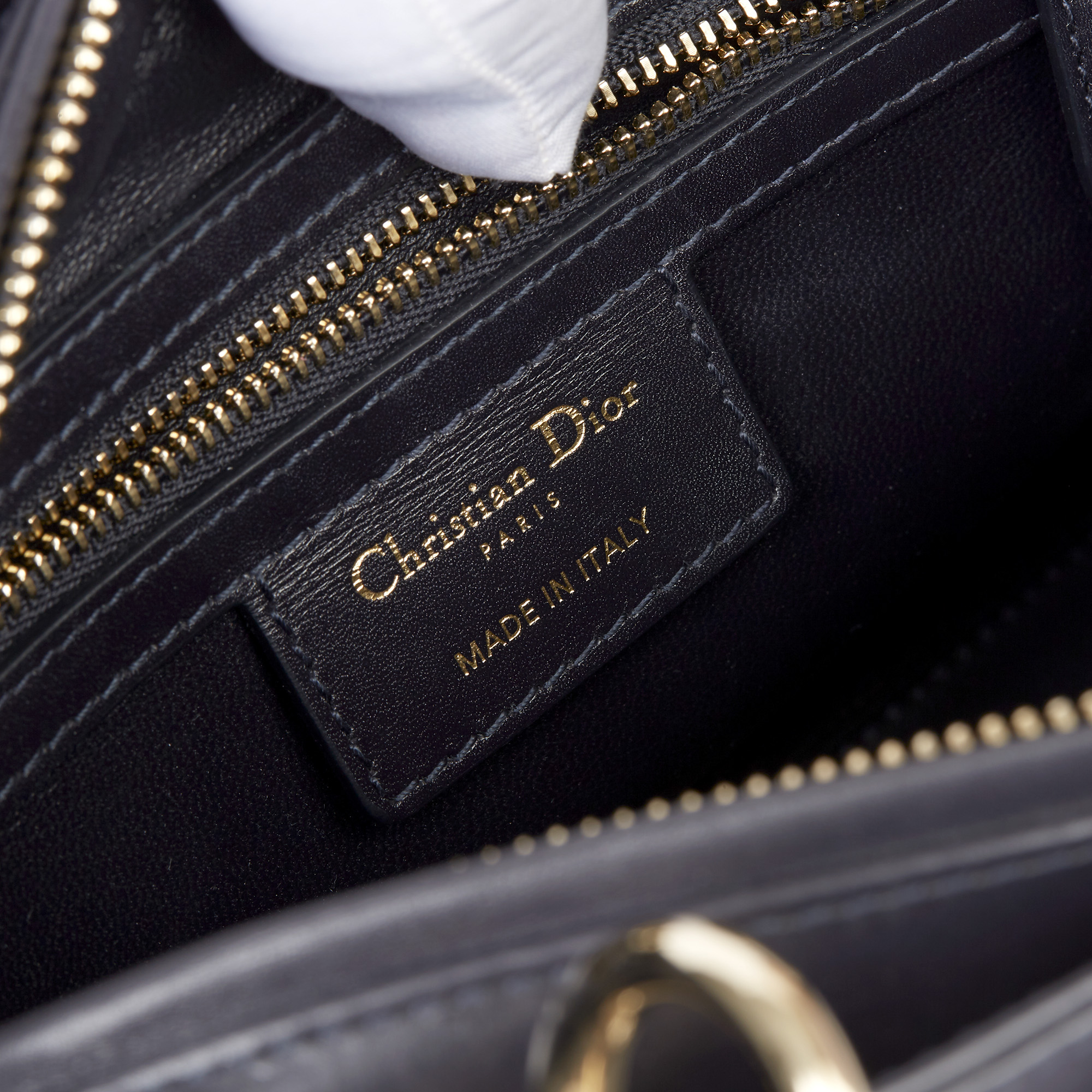 Christian Dior Navy Smooth Calfskin Leather Pocket Detail Medium Lady Dior - Image 4 of 10