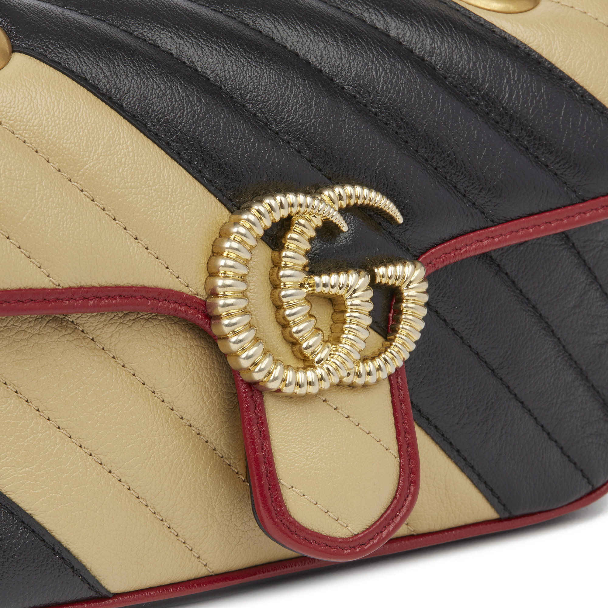 Gucci Black, Cream & Red Diagonal Quilted Aged Calfskin Leather Mini Marmont - Image 8 of 12