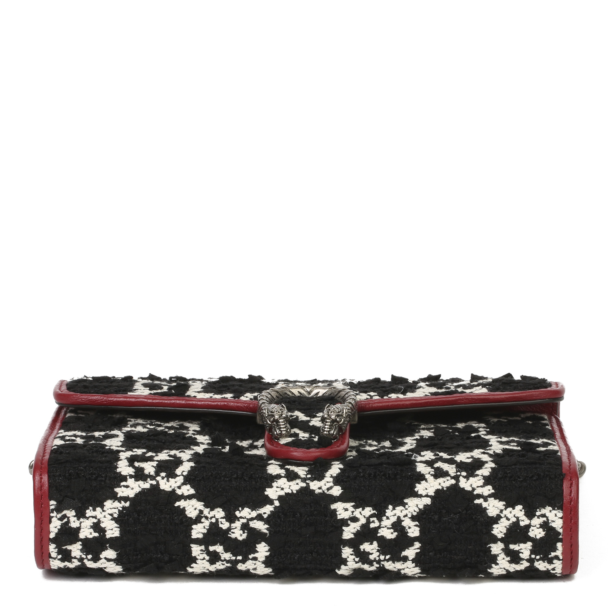Gucci Red Calfskin & Black, White GG Tweed Dionysus Wallet-on-Chain - Image 8 of 11