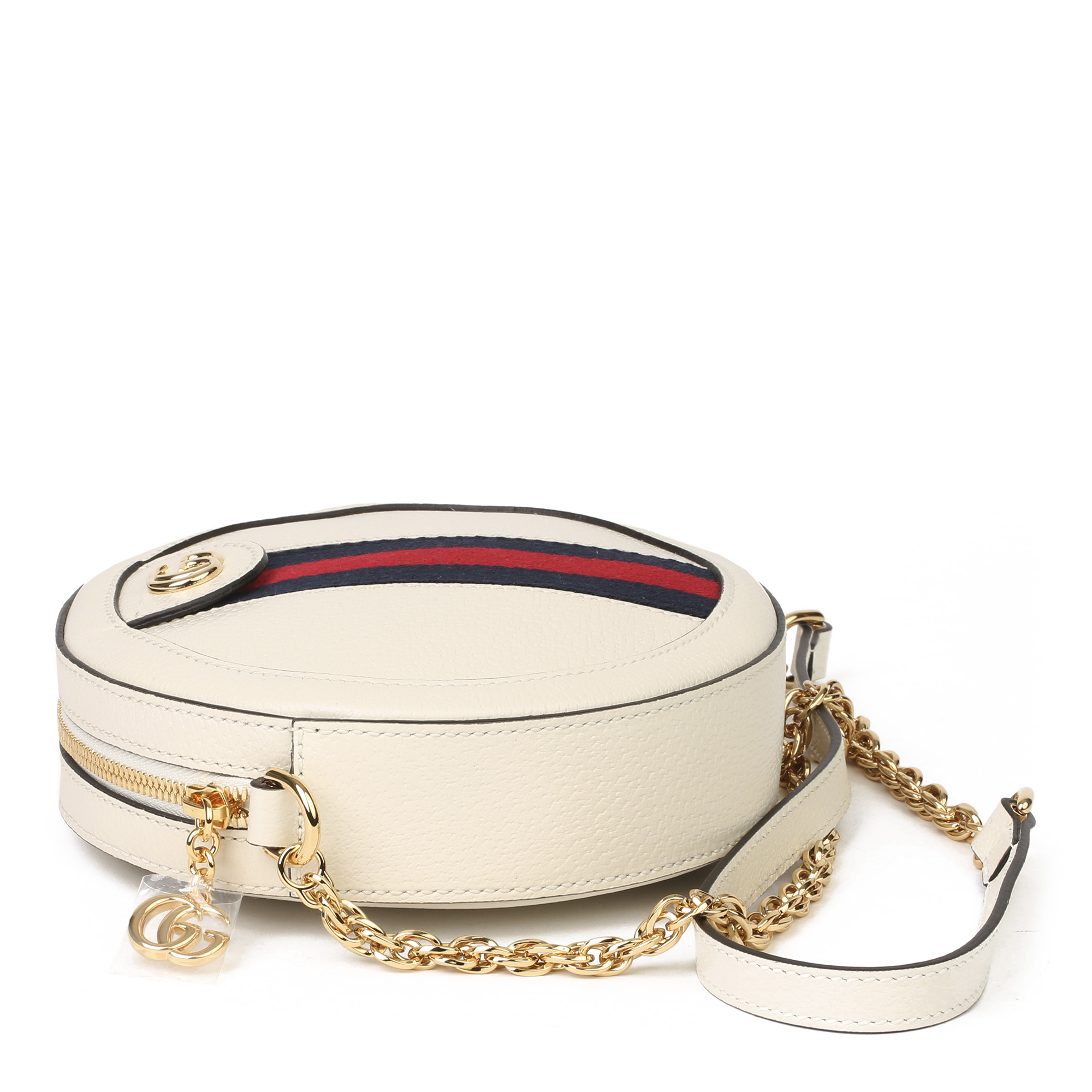 Gucci White Pigskin Leather Web Mini Round Orphidia Shoulder Bag - Image 11 of 11