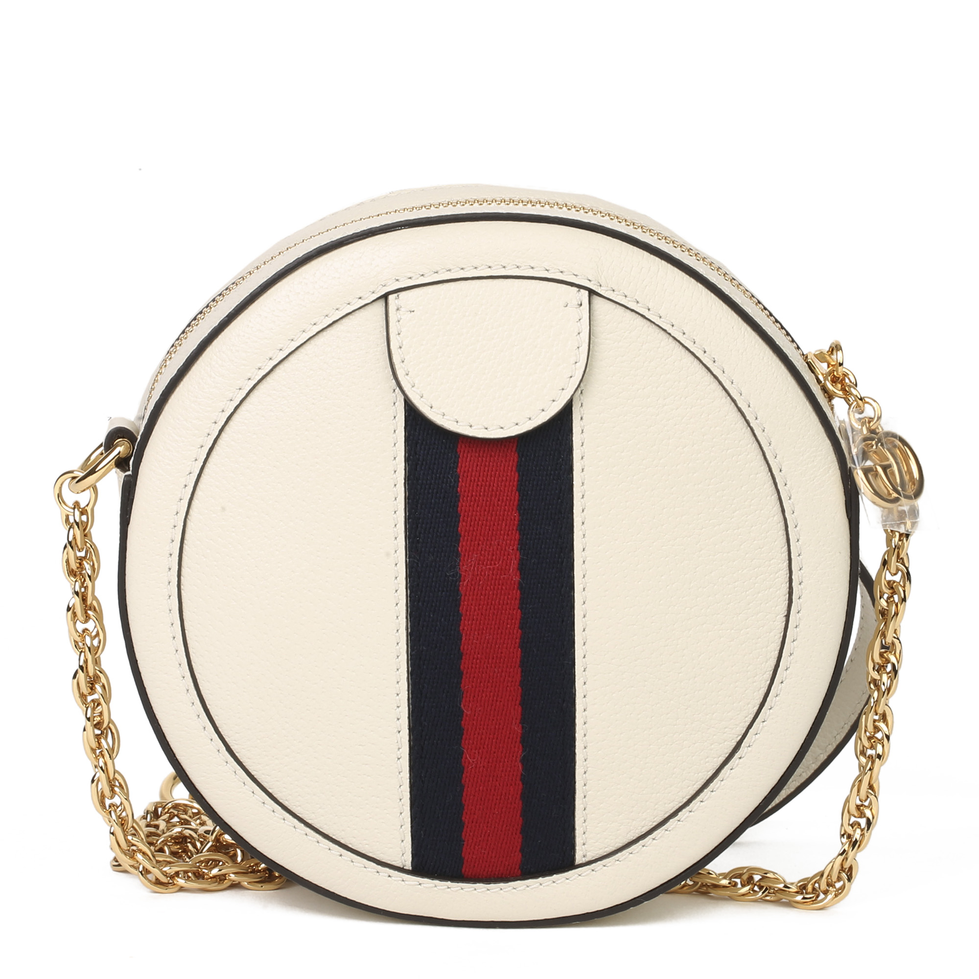 Gucci White Pigskin Leather Web Mini Round Orphidia Shoulder Bag - Image 9 of 11