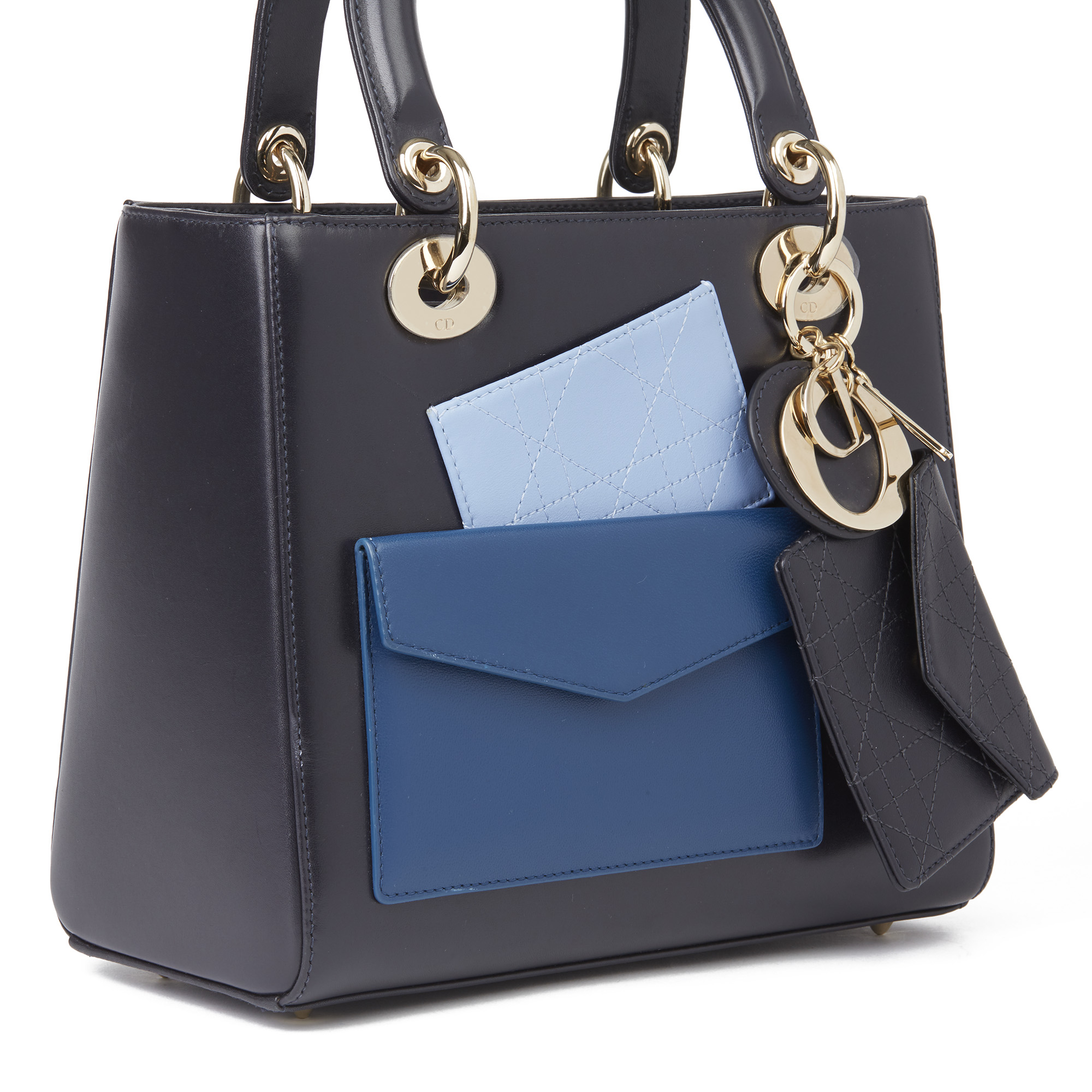 Christian Dior Navy Smooth Calfskin Leather Pocket Detail Medium Lady Dior - Image 6 of 10