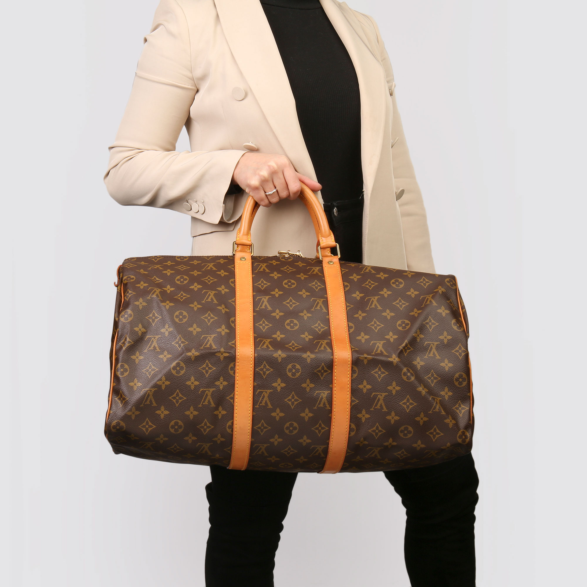 Louis Vuitton Brown Monogram Coated Canvas & Vachetta Leather Vintage Keepall 50 - Image 2 of 11