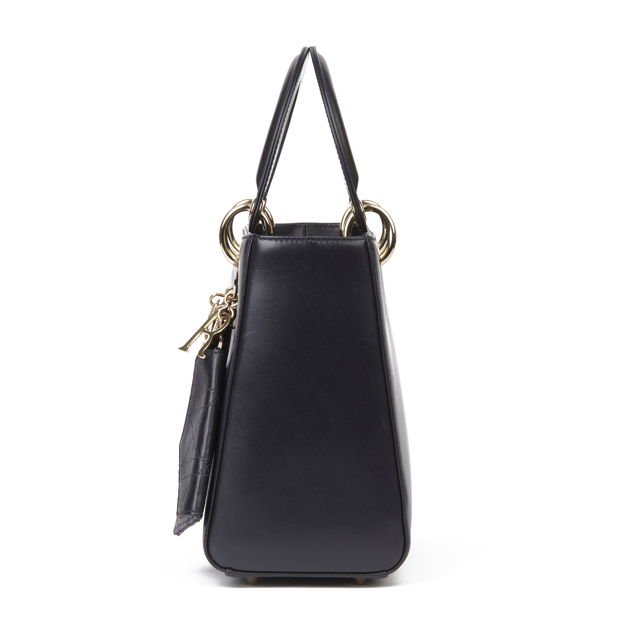 Christian Dior Navy Smooth Calfskin Leather Pocket Detail Medium Lady Dior - Image 9 of 10